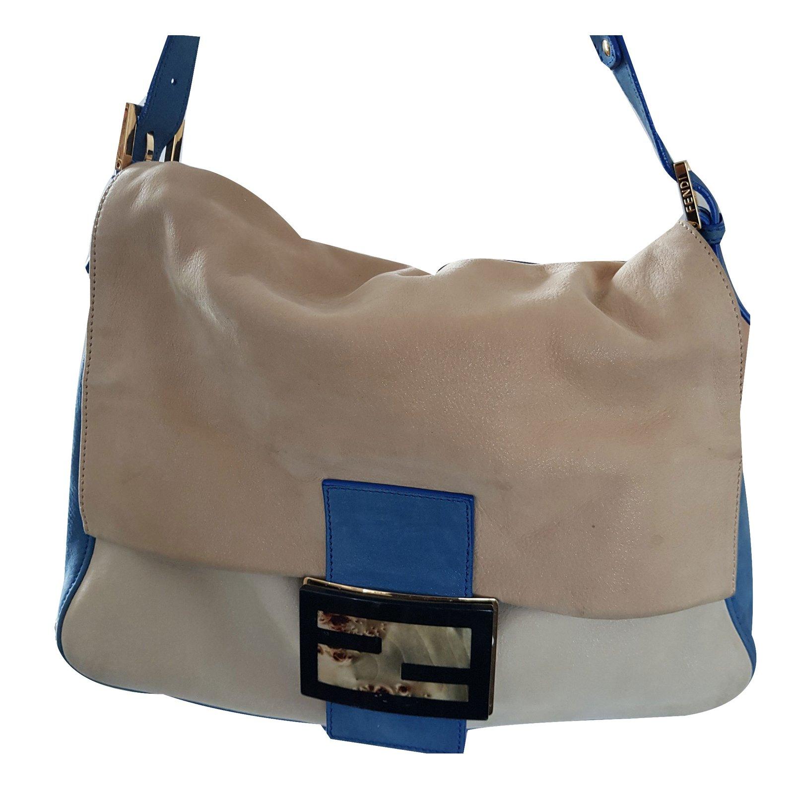 Fendi Mama Bag Multi Coloured Large Handbags Suede Leather Metal Multiple Colors Ref