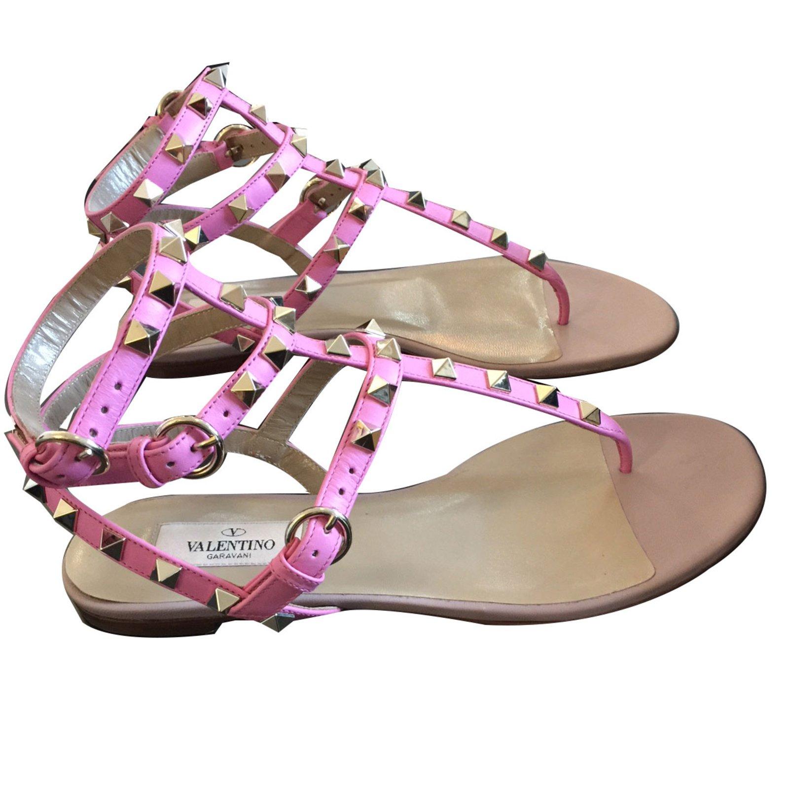 valentino rockstud pink sandals