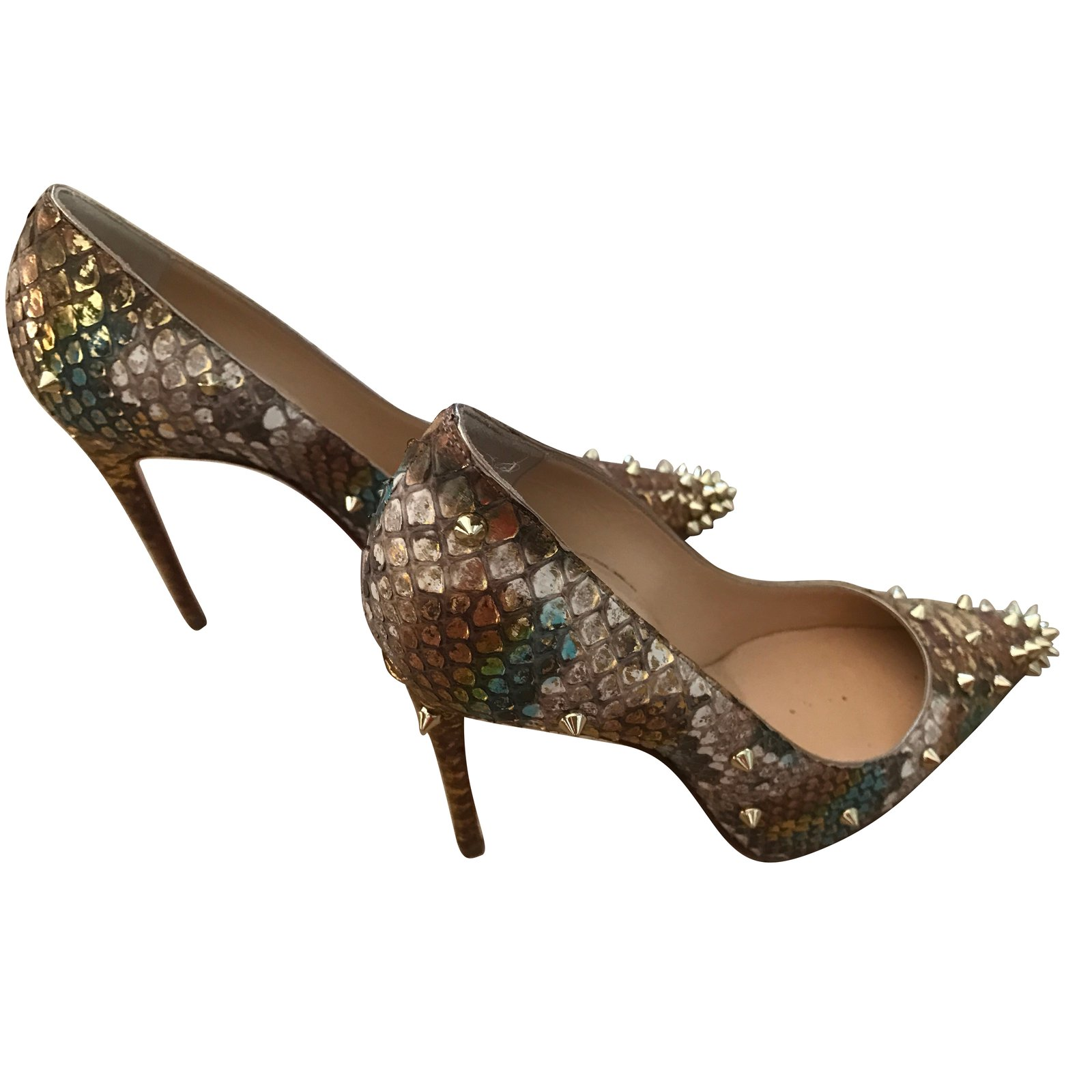 brand new 89cec e7953 Spike Heels, python leather