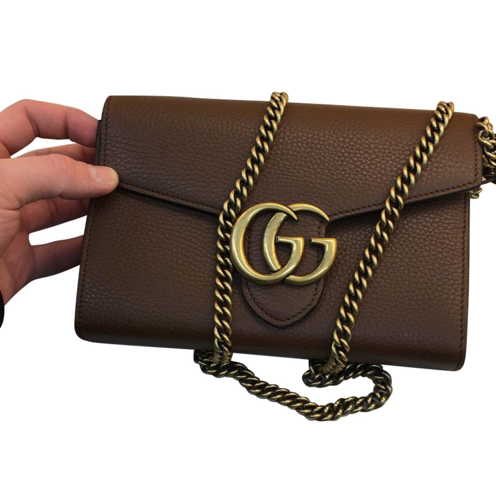 Gucci Marmont Bag Handbags Leather Brown Ref 66308 Joli Closet