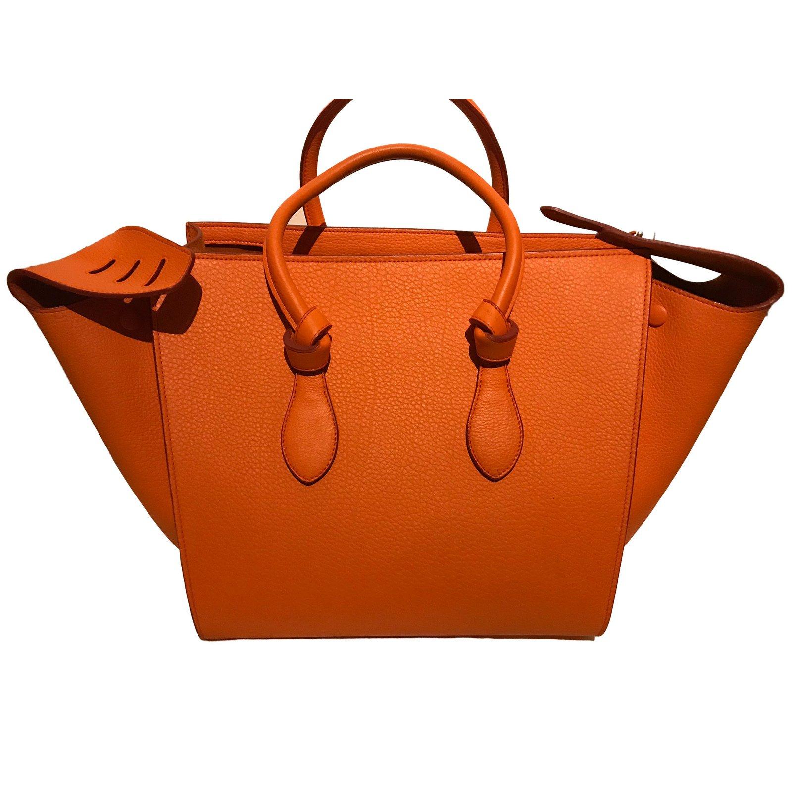 659f90f402 Céline À Tie Main Sac Joli Closet Cuir Orange 66679 Sacs Ref nO0w8vmN