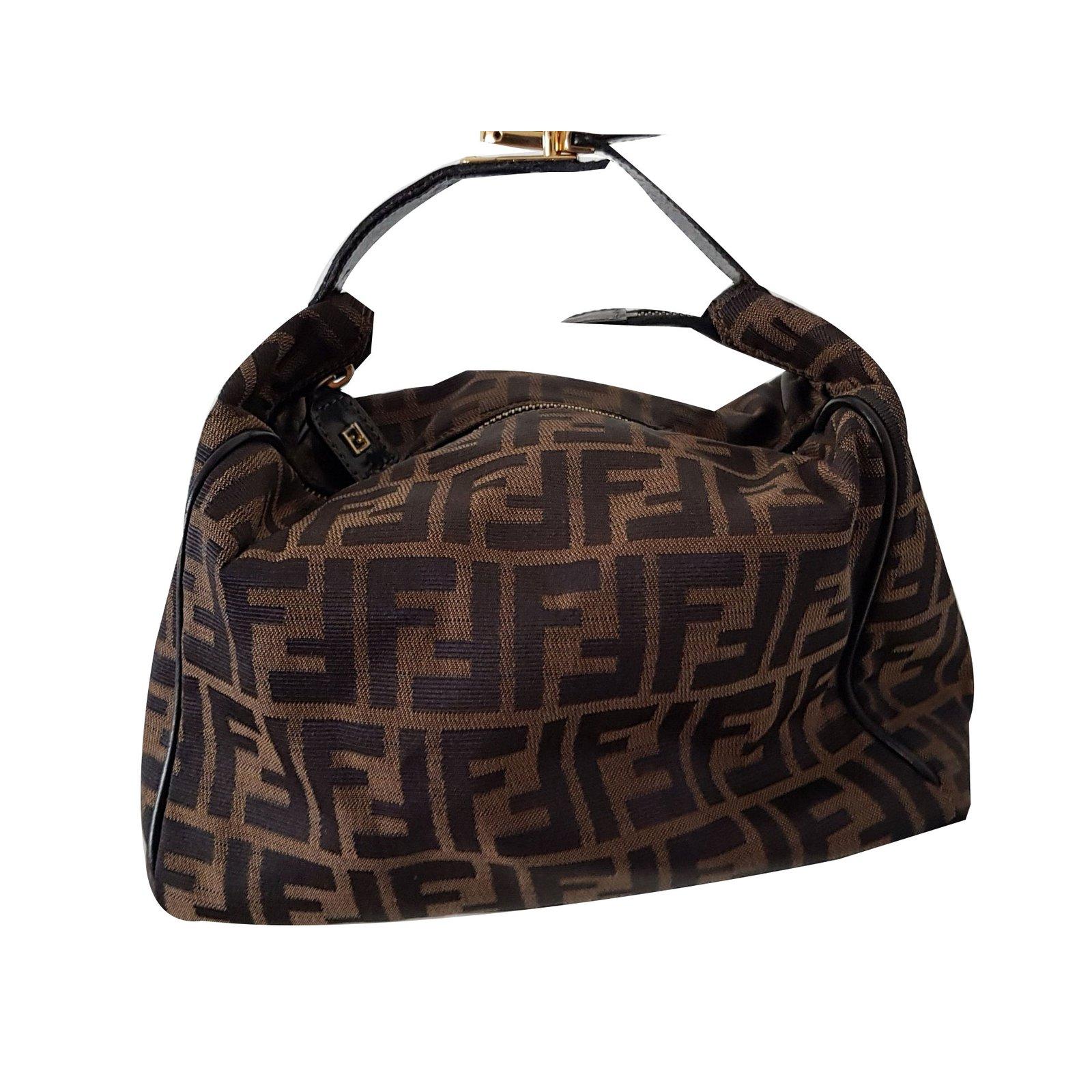 sacs main fendi sacs main cuir coton marron dor ref. Black Bedroom Furniture Sets. Home Design Ideas