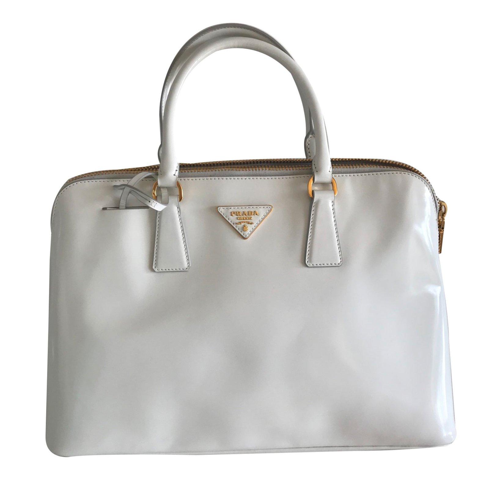 Prada Handbags Patent Leather White Ref 66868