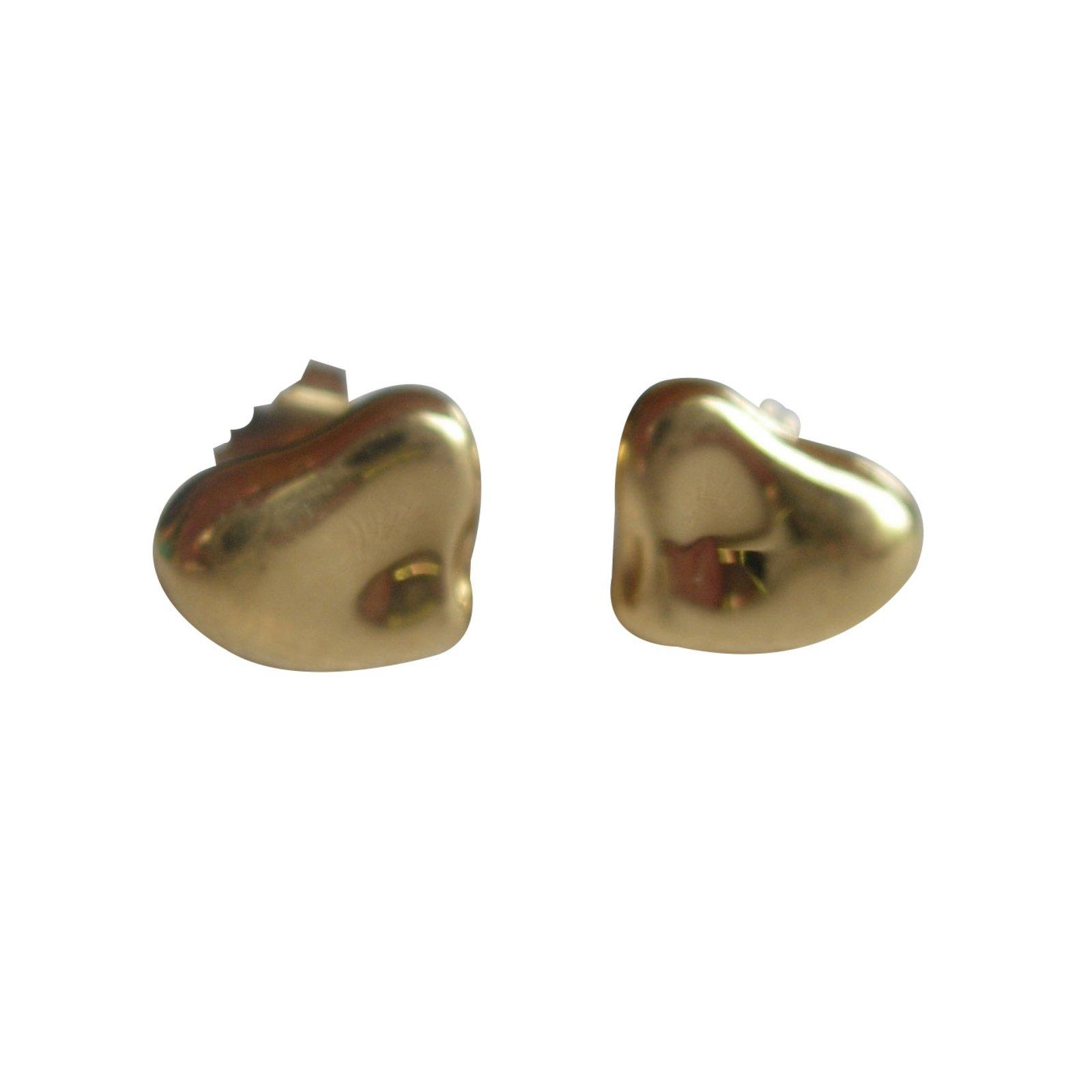Tiffany Co Full Heart By Elsa Peretti Earrings Yellow Gold Golden Ref 66892