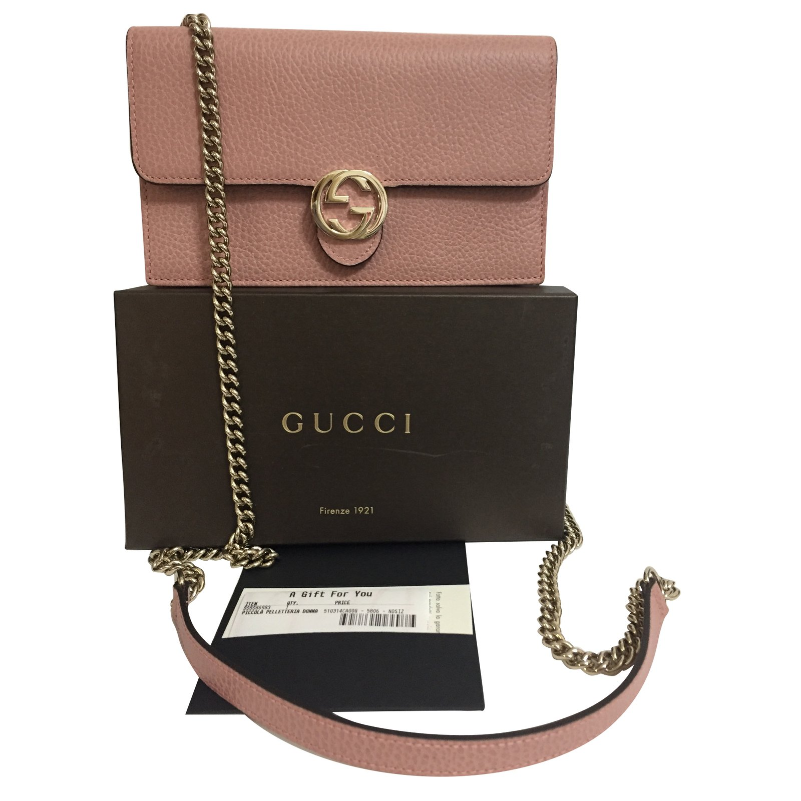 Gucci Wallet On Chain Wallets Leather Pink Ref 67002 - Joli