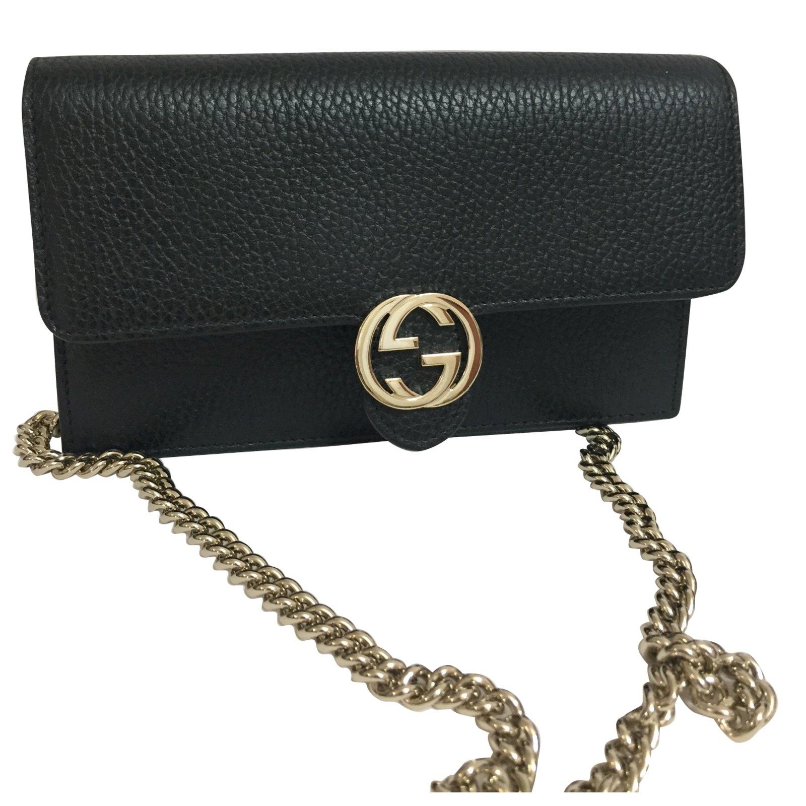 54075e362ce0 Gucci Wallet On Chain Clutch Bags Leather Black Ref 67006 Joli Closet