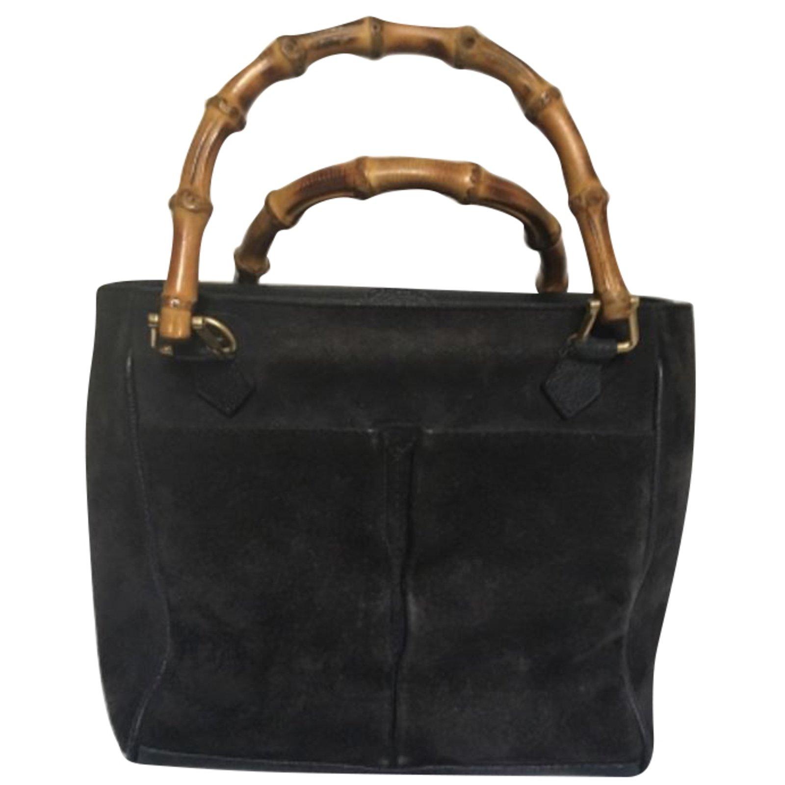 7d98c21535d7b Gucci Bamboo Handbag Handbags Deerskin Blue Ref 67121 Joli Closet.  Kaitorikohi take gucci bamboo per mini black calf leather ...