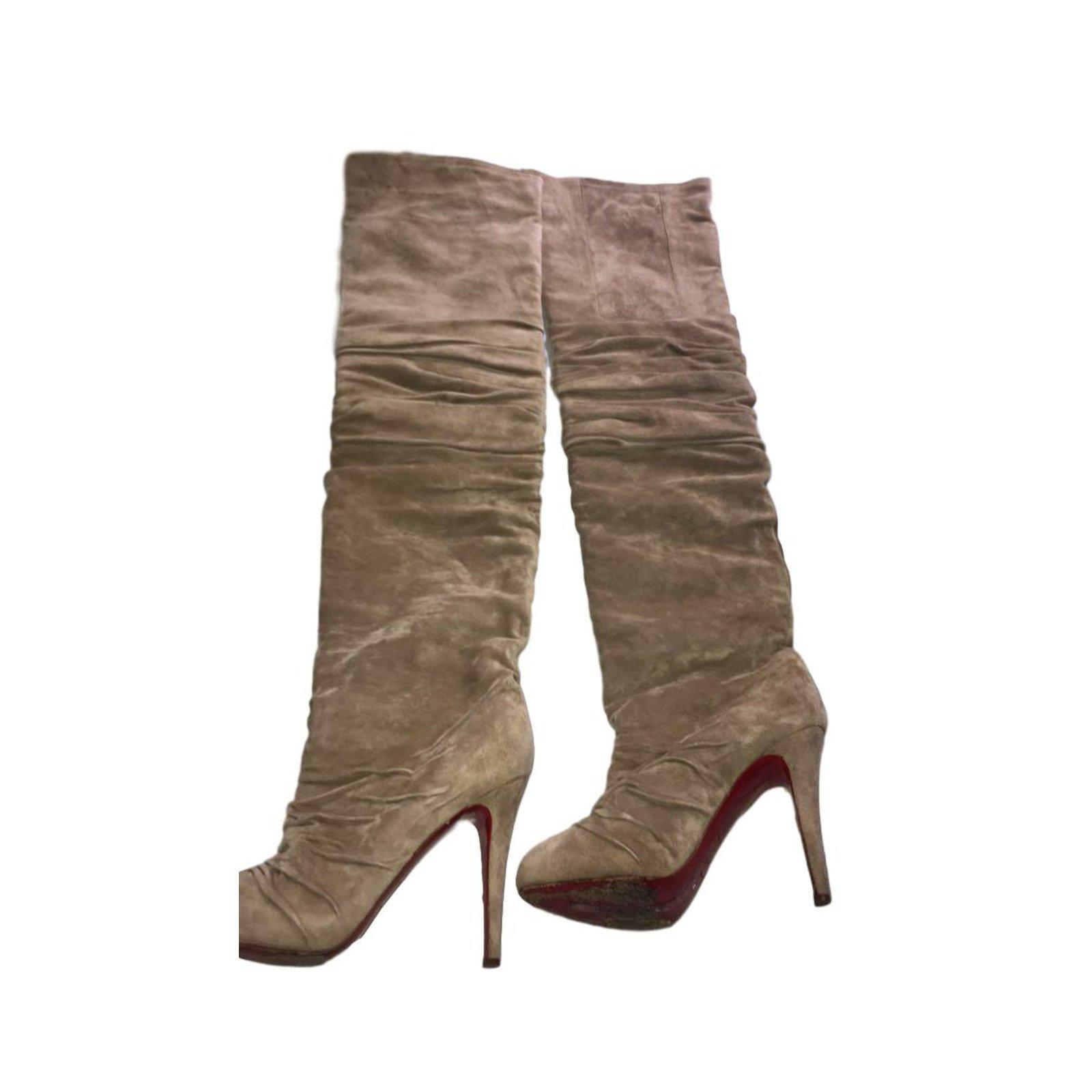 louboutin boots beige