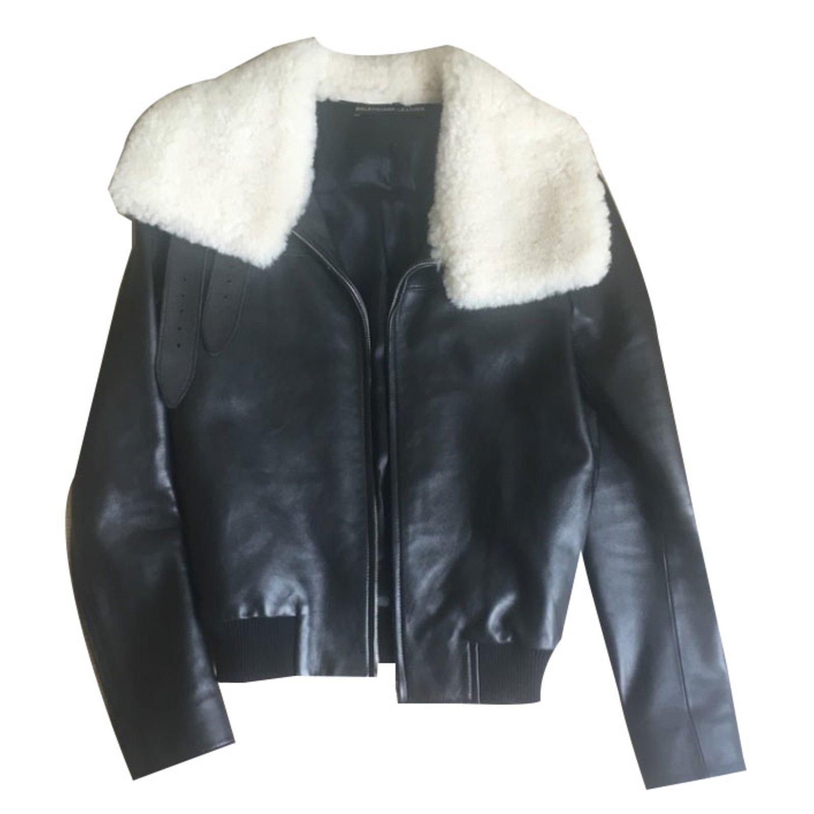 Laine 67304 Joli Vestes Balenciaga D'agneau cuir Noir Ref g71wZwfqT