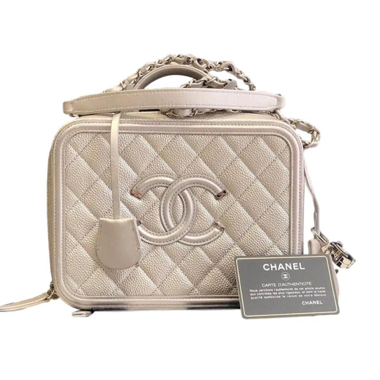 e86ac17f8eaf Chanel Vanity case Handbags Leather Silvery ref.67345 - Joli Closet