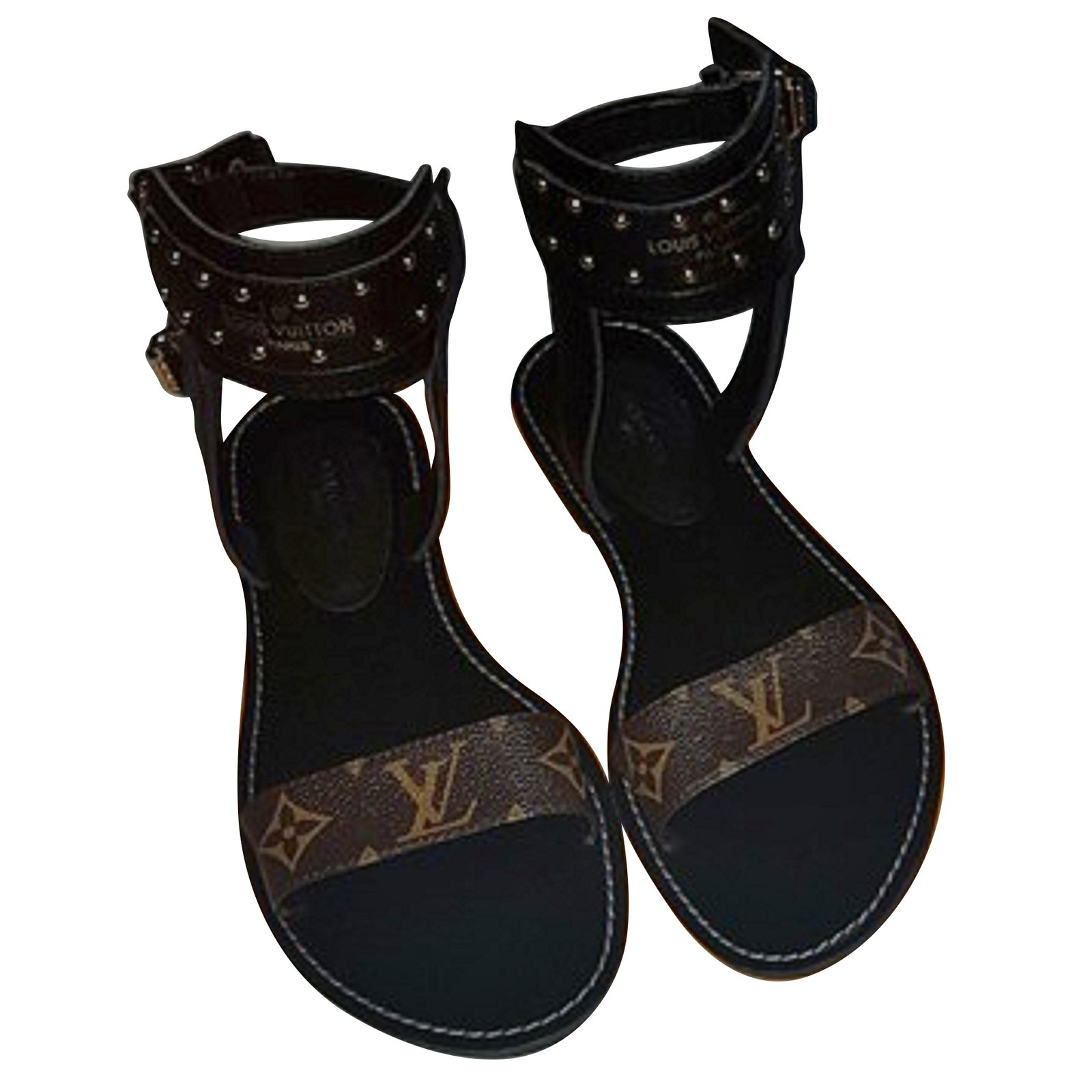 251a13afb0d Louis Vuitton NOMAD Sandals Sandals Leather Brown ref.67605 - Joli ...