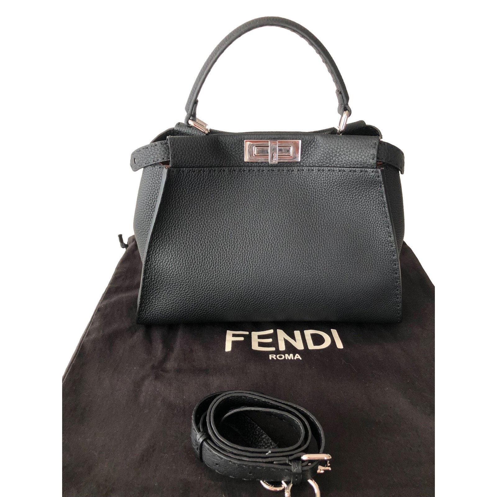 Fendi Handbags Leather Black
