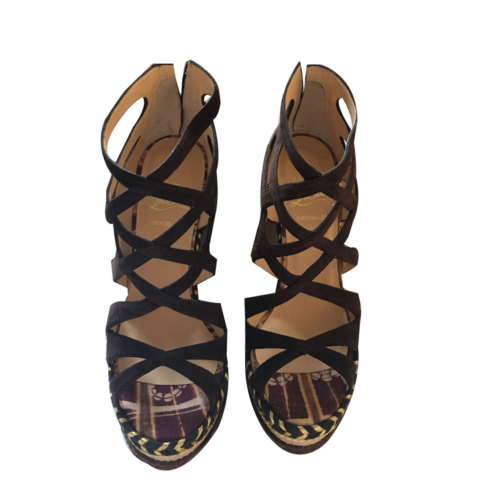 2d93c029ebbc ... authentic christian louboutin tosca sandals sandals suede brown  ref.68020 0985a 0be08