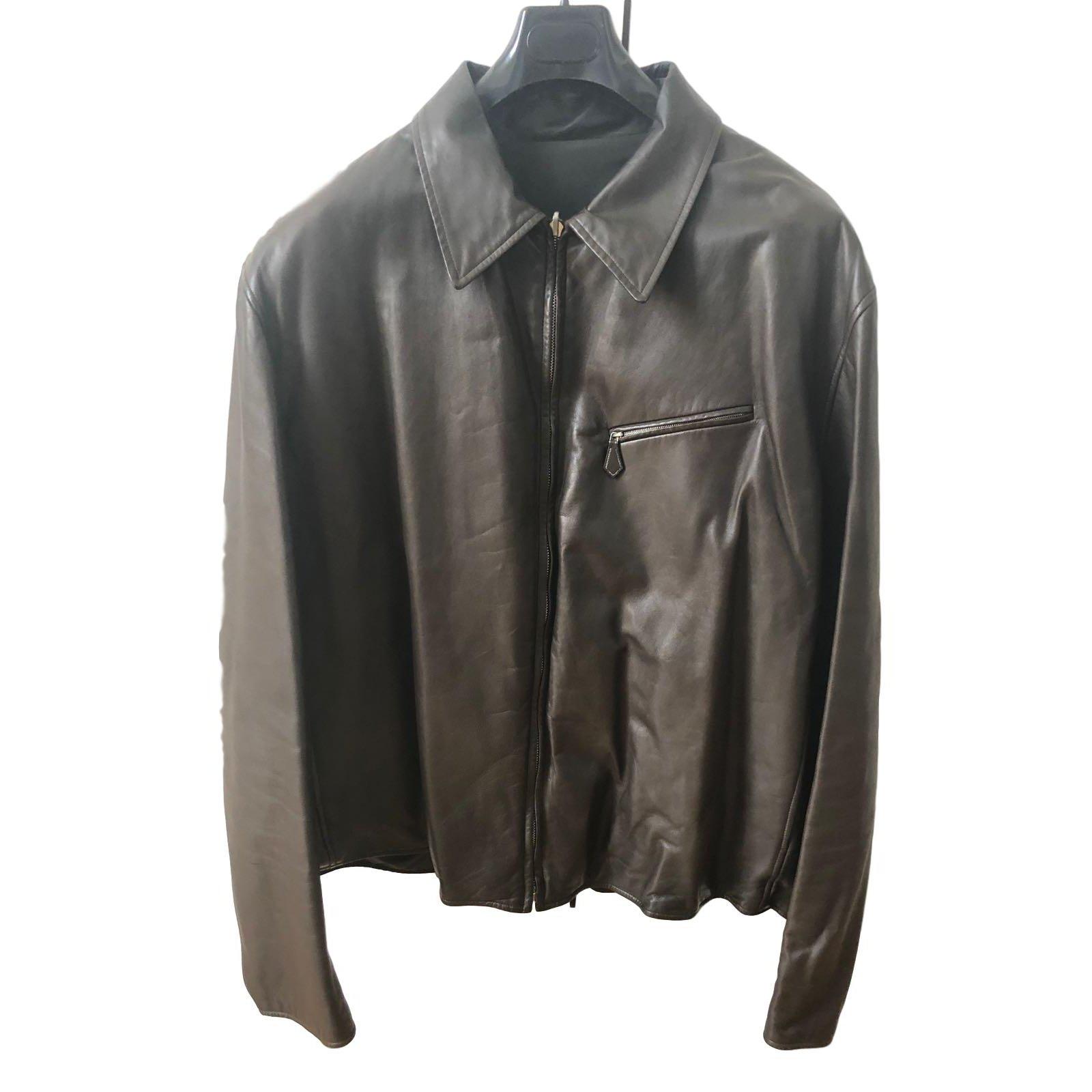 Vestes, blousons Hermès Veste réversible en cuir Cuir Marron ref.68173 032b506de7e