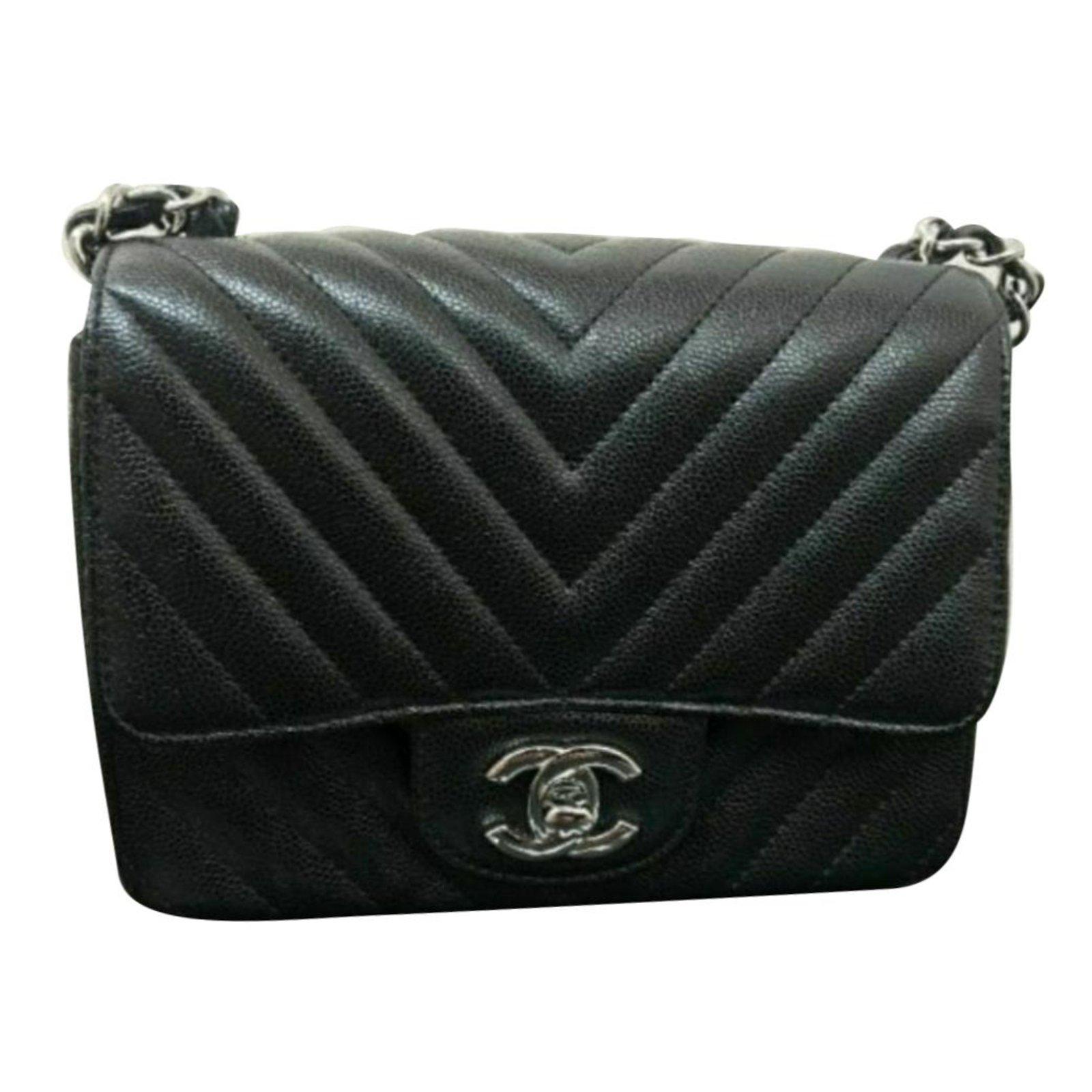 51032773856f36 Chanel Mini square caviar bag Handbags Leather Black ref.68352 ...