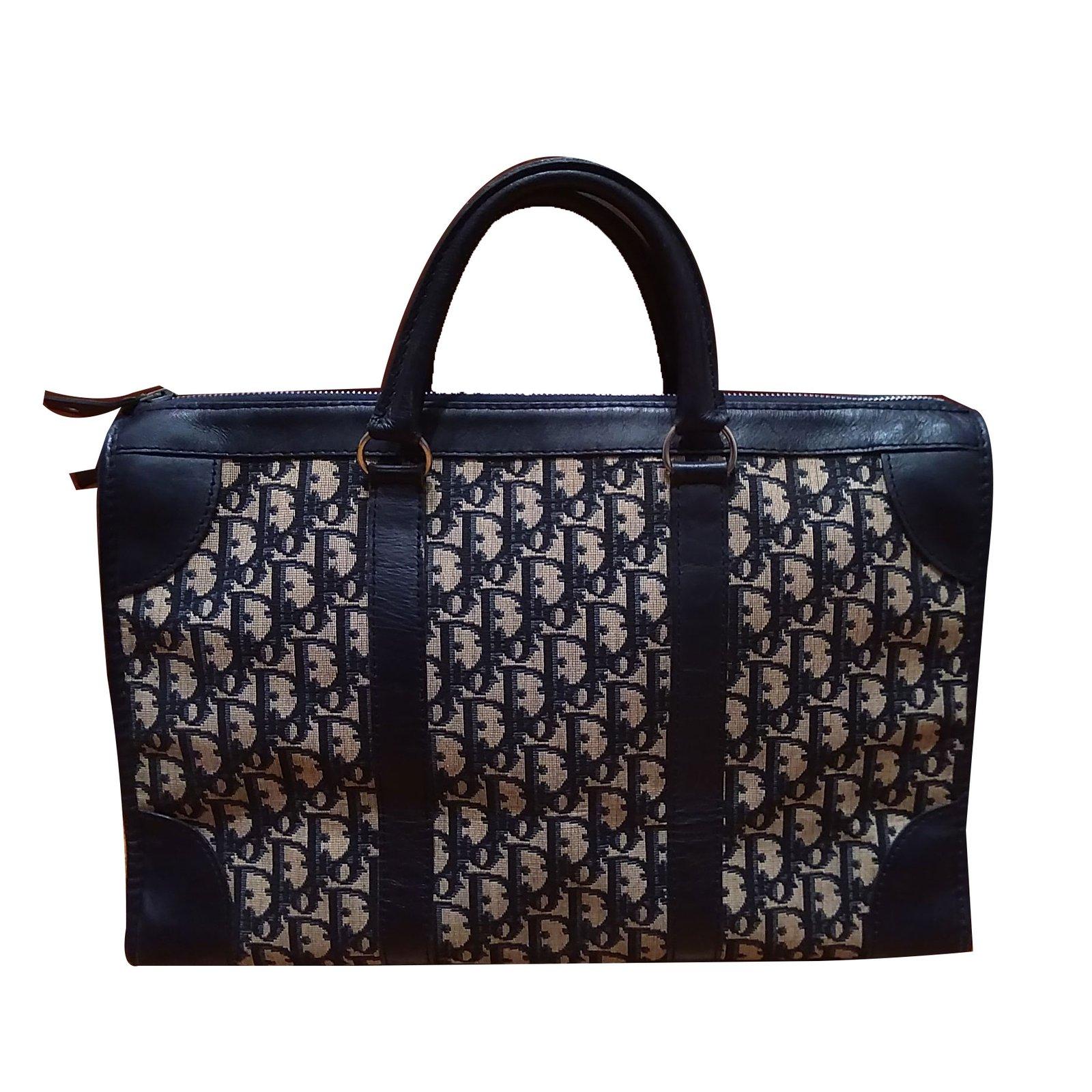 4afc01cfa44 Christian Dior tote monogram oblique. Handbags Cloth Blue ref.68806 ...