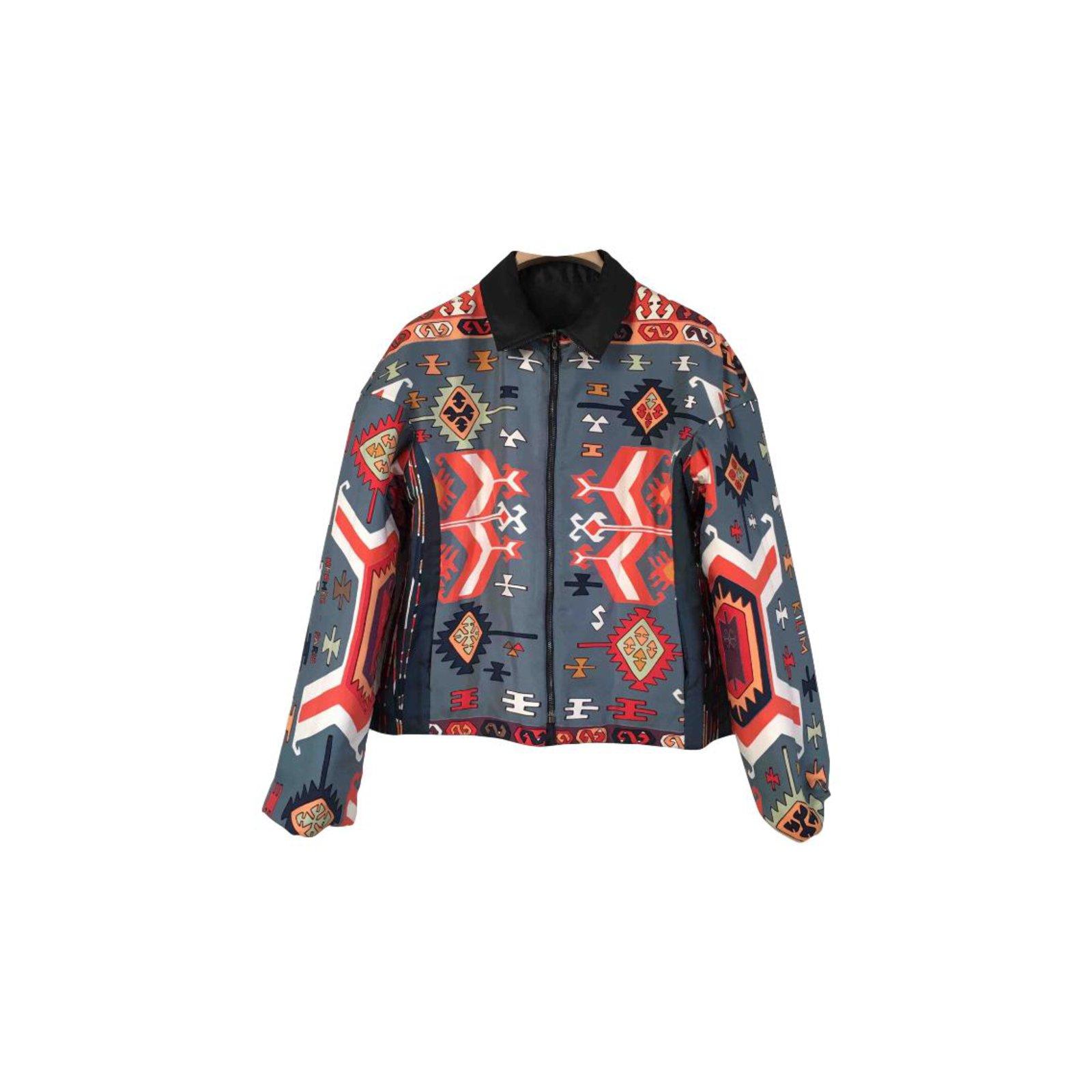 Soie Soie bleu polyester Marine Ref Hermès Vestes Multicolore Veste 68847 68847 68847 PEzCqf