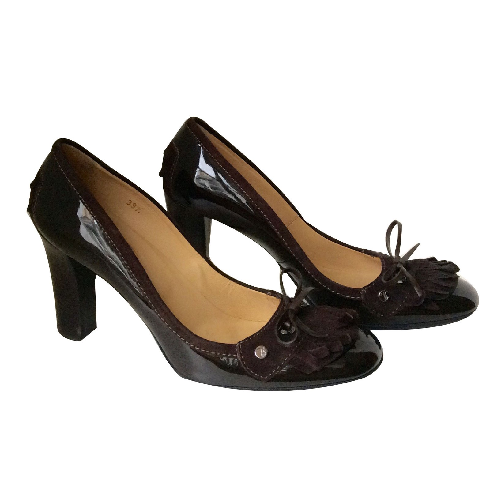Tod s Heels Heels Patent leather Dark brown ref.68977 - Joli Closet