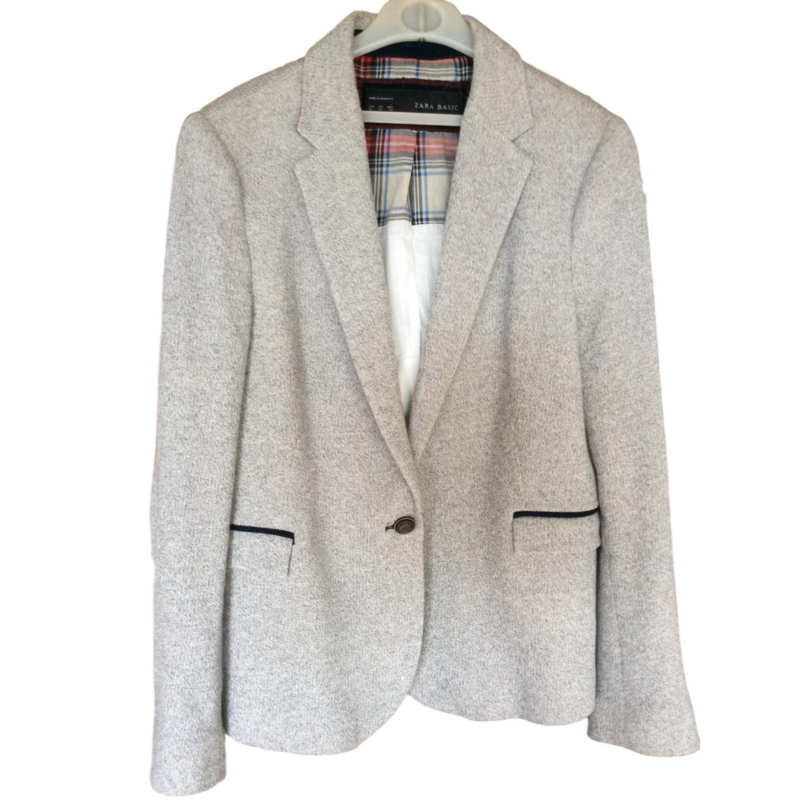 Vestes Zara Blazer Coton Gris ref.69045 Joli Closet