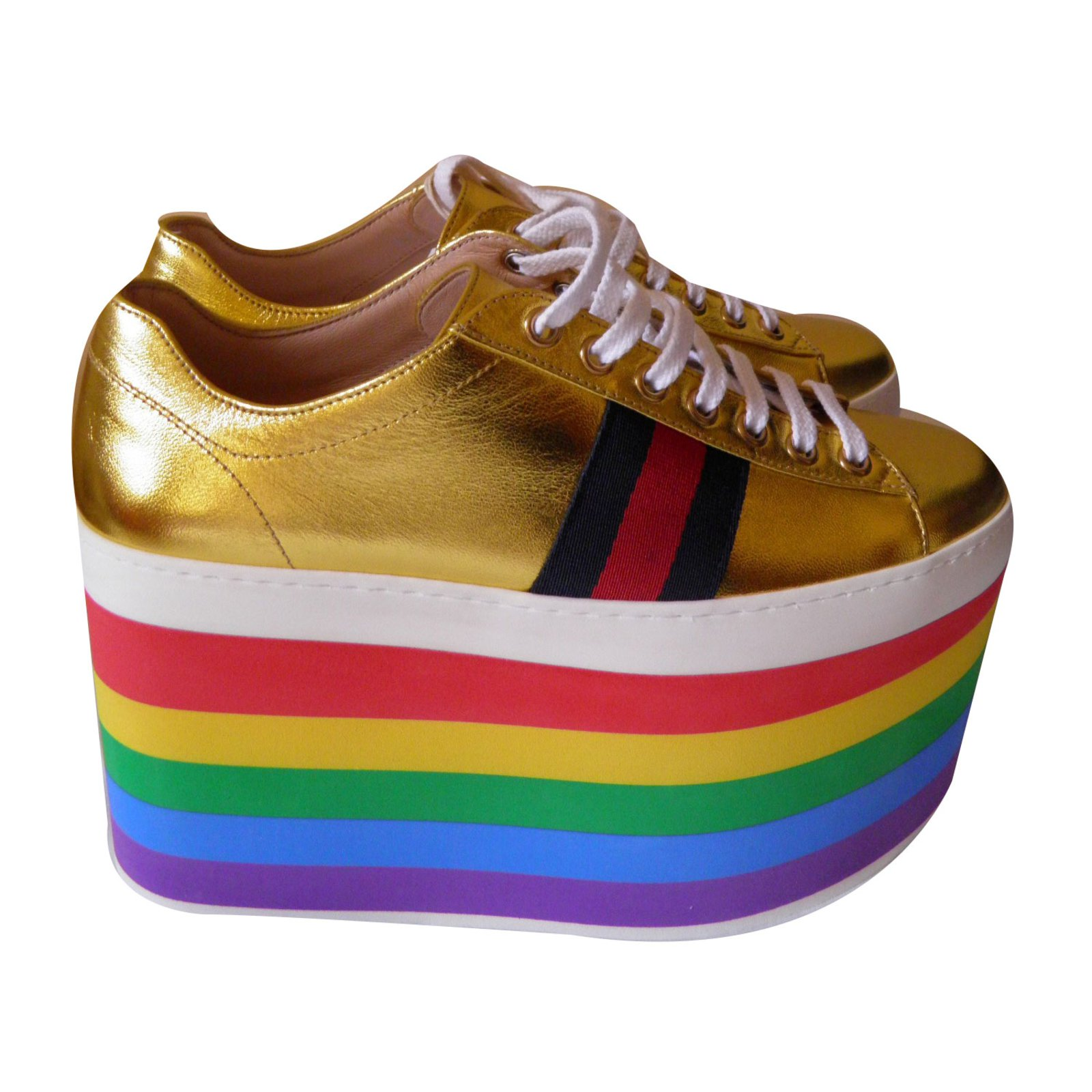 356e98168 Gucci rainbow platform sneakers Sneakers Leather Golden ref.69192 ...