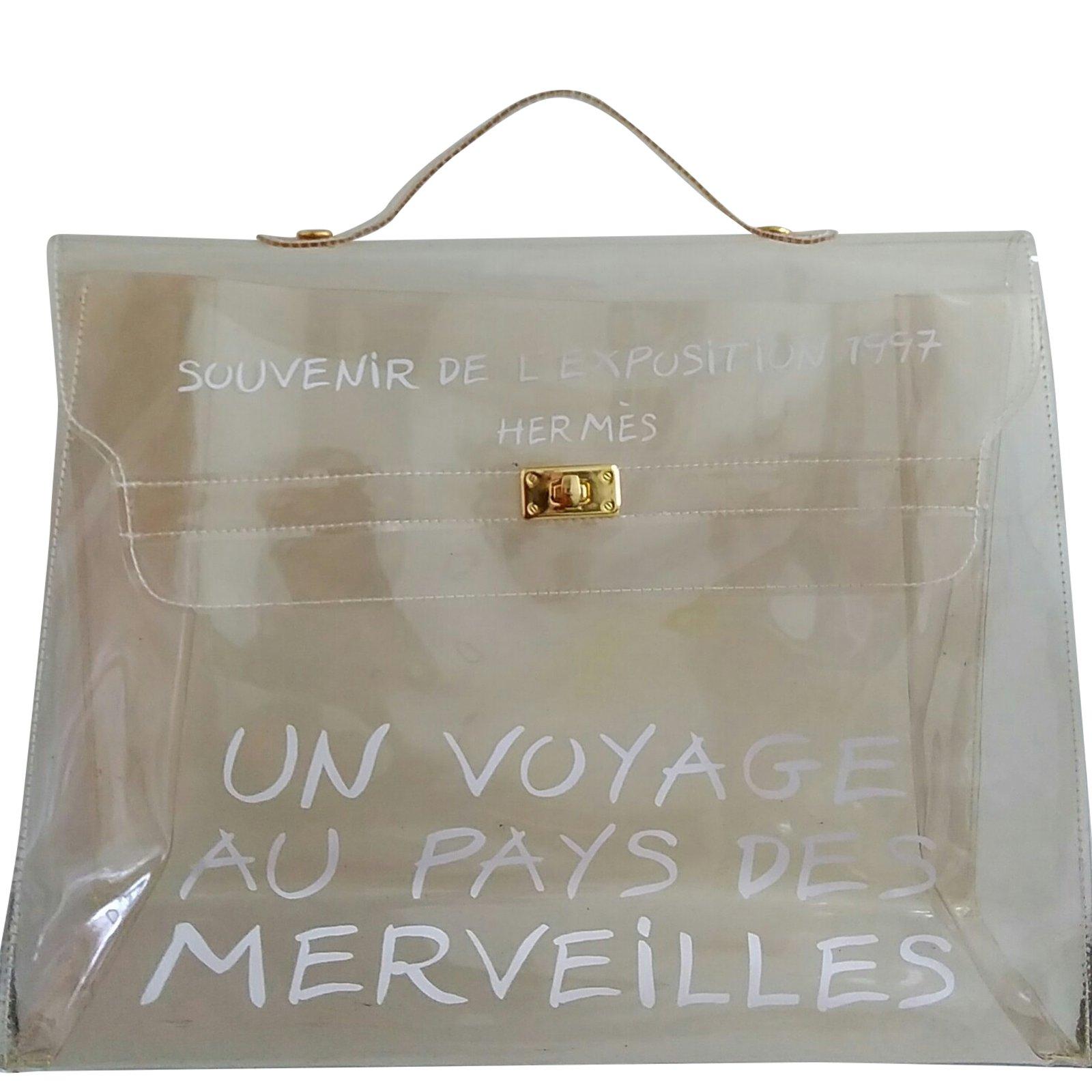 Sacs à main Hermès Kelly 40 límited vinyl bag Plastique Blanc ref.69225 89341ff61ed