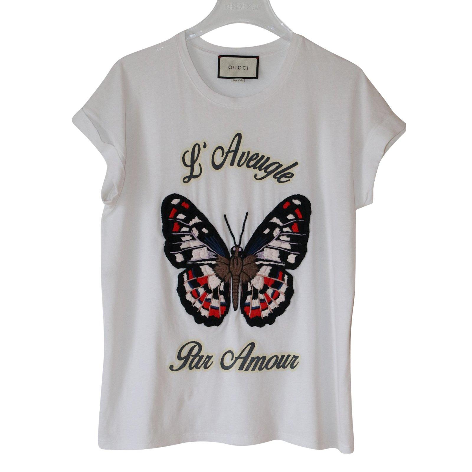 208cb5f02414 Gucci Butterfly T-Shirt Tops Cotton White ref.69384 - Joli Closet