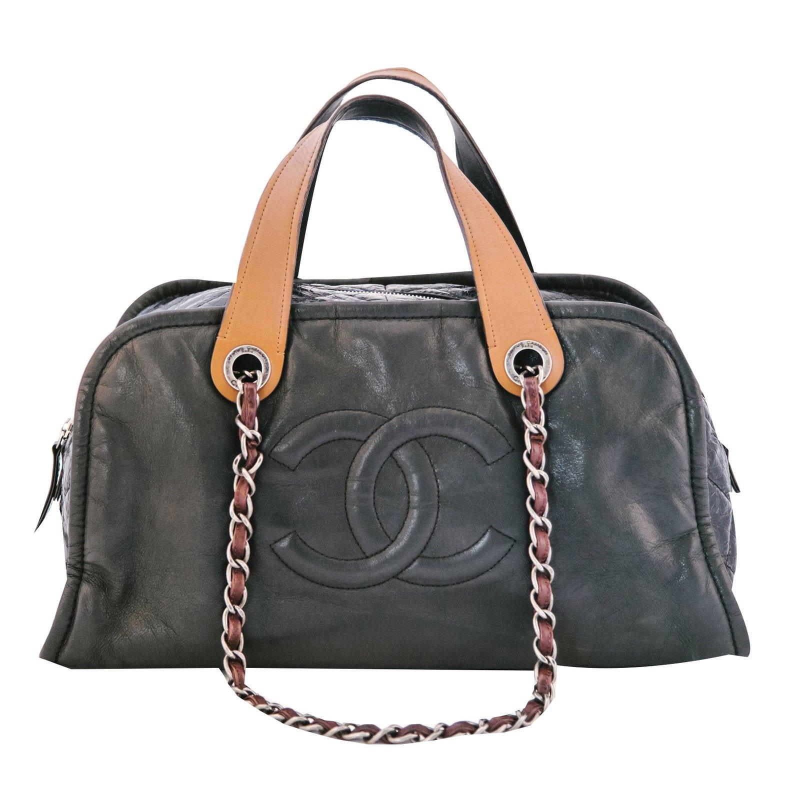 Chanel Bowling Bag Handbags Leather Black Ref 69815