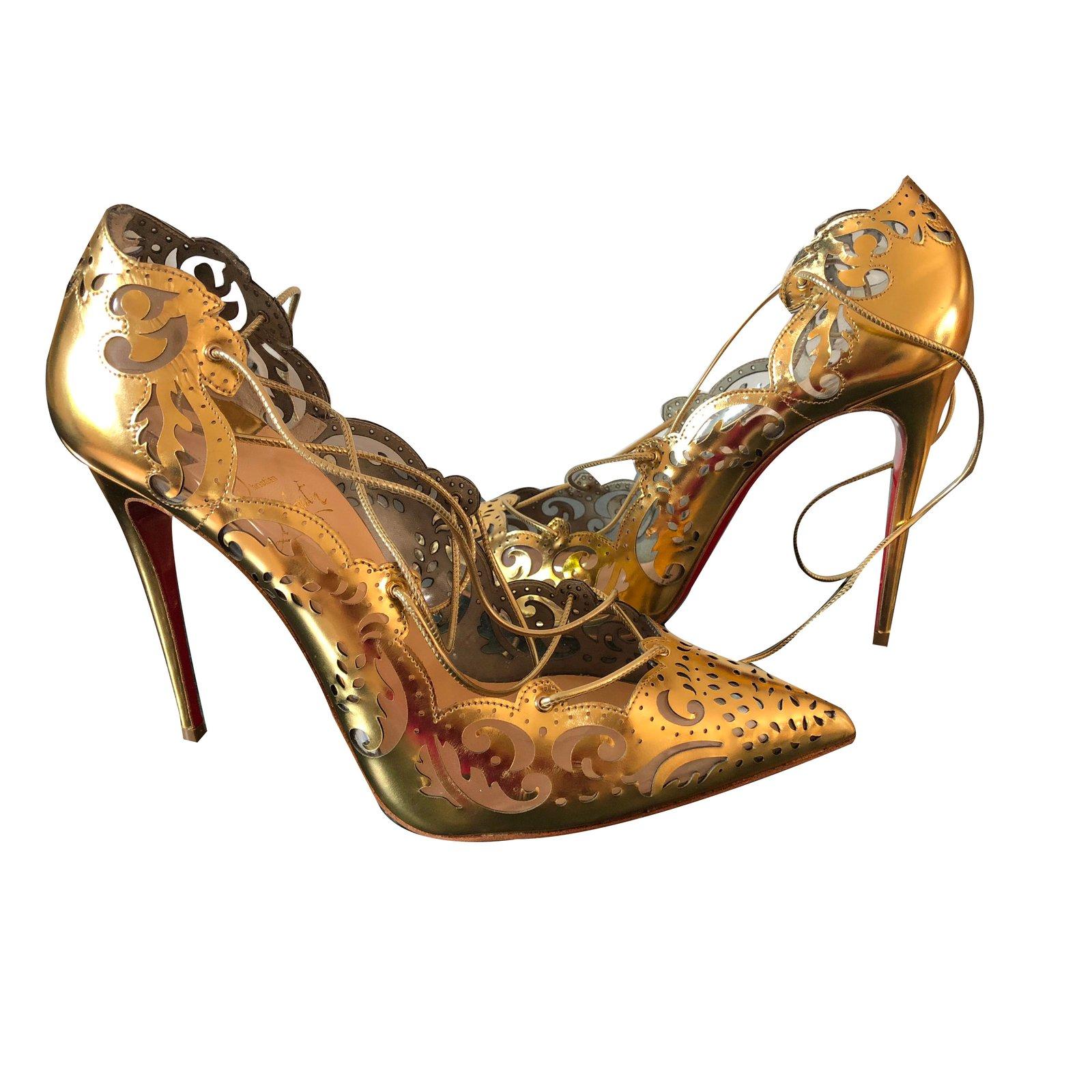 Christian Louboutin Impera 100 Heels Leather Golden ref.69817 - Joli ... 2866dc5e8