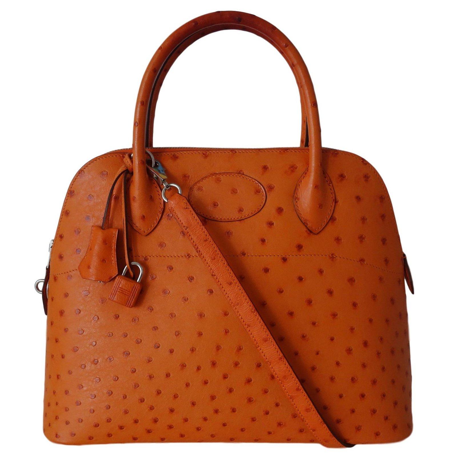 Hermès Bolide 31 Ostrich Leather Handbags Exotic Orange Ref 69994