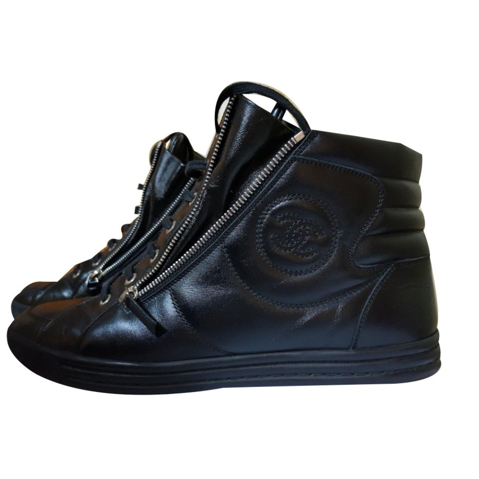 Baskets homme Chanel Baskets homme Cuir Noir ref.69996 - Joli Closet 7b6916812ac