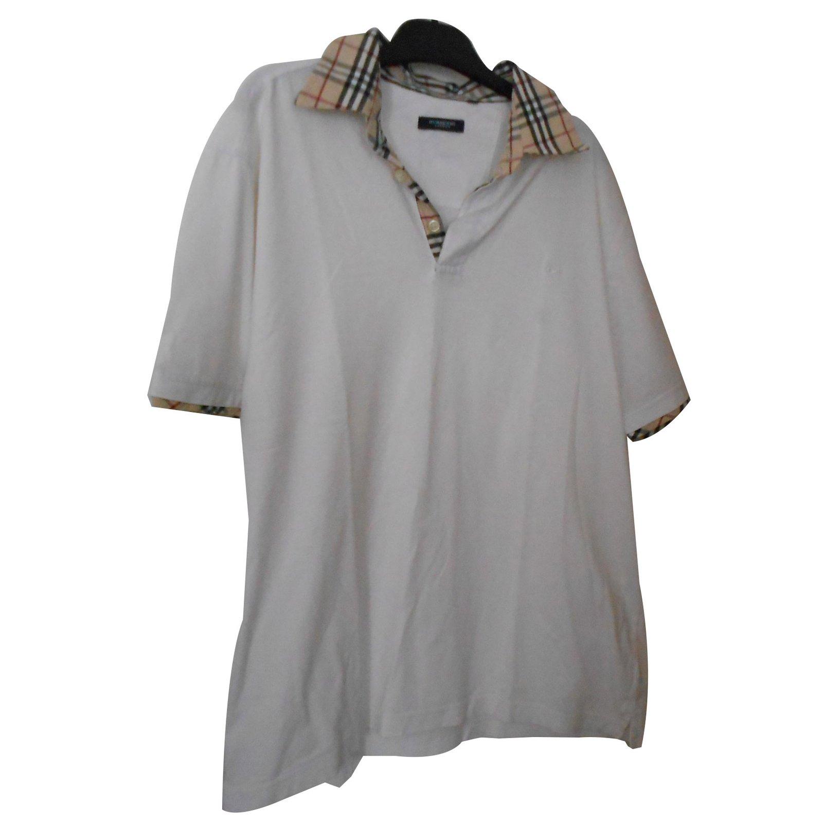 Polos Burberry Polo blanc col écossais beige et noir Coton Blanc cassé  ref.70014 4b8deaa60c7