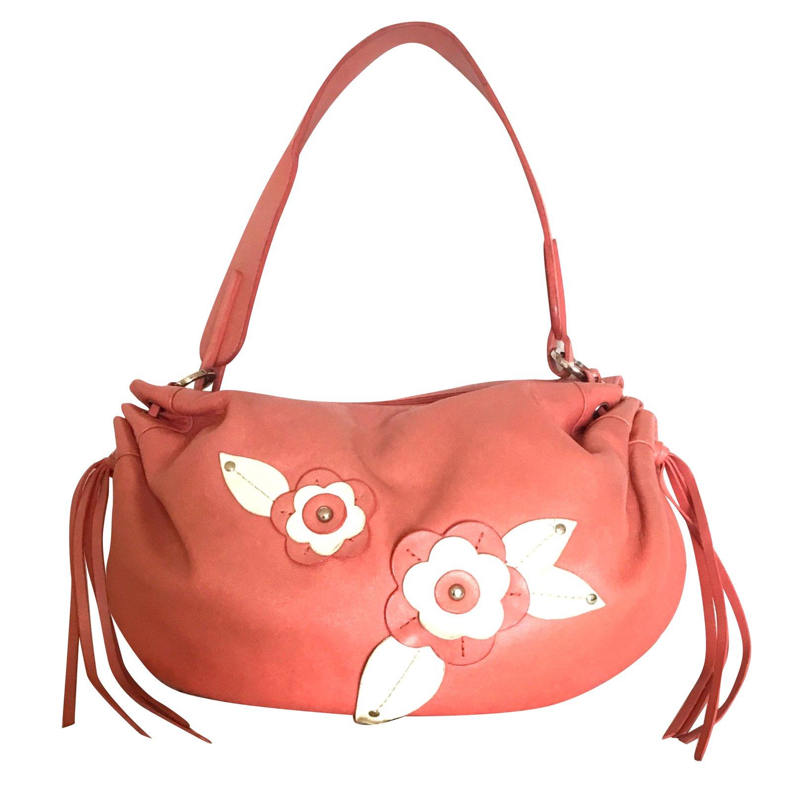 Lancel Handbag Handbags Leather Pink Orange Ref 70125