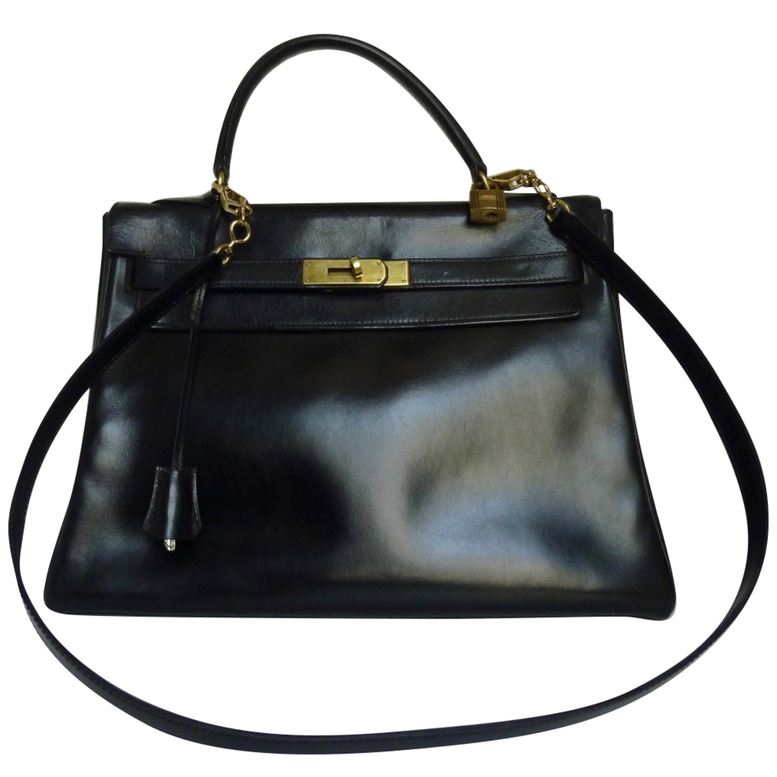 70157 Kelly Sacs Hermès Cuir En 32 Box Noir À Ref Main b67fgyvY
