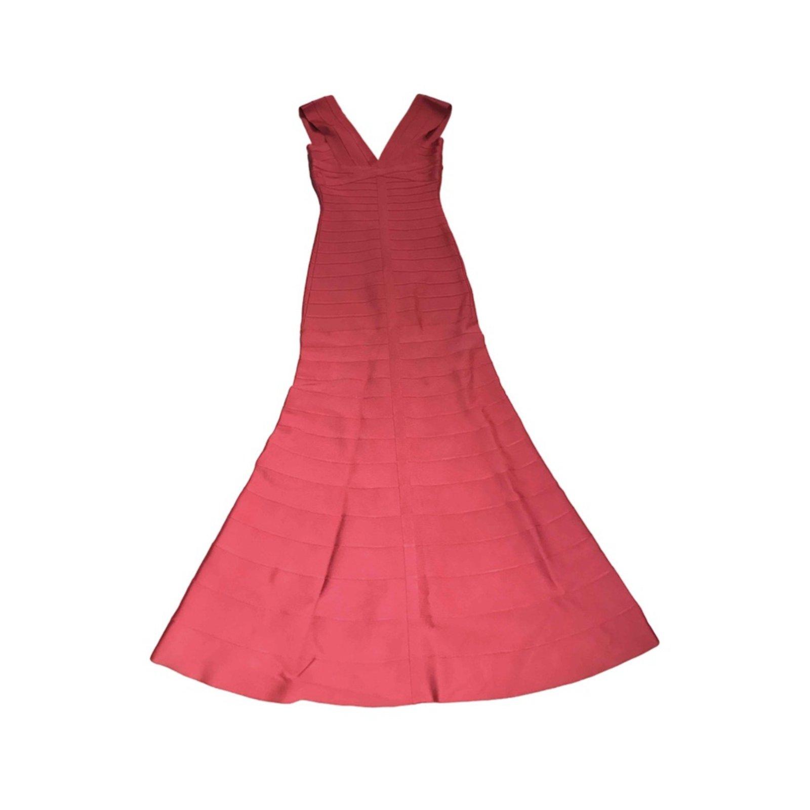 Herve Leger Grace Gown Dresses Cotton Pink ref.70657 - Joli Closet