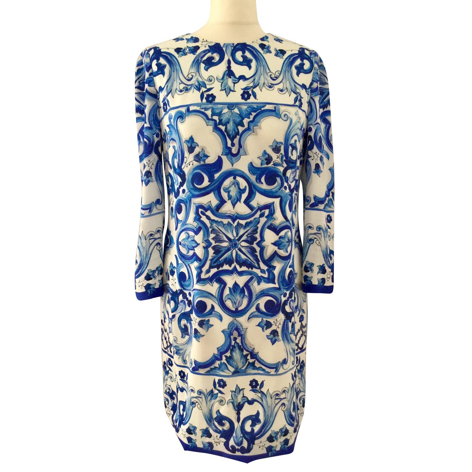Dolce Gabbana Majolica Dresses Silk Blue Ref 70935 Joli Closet