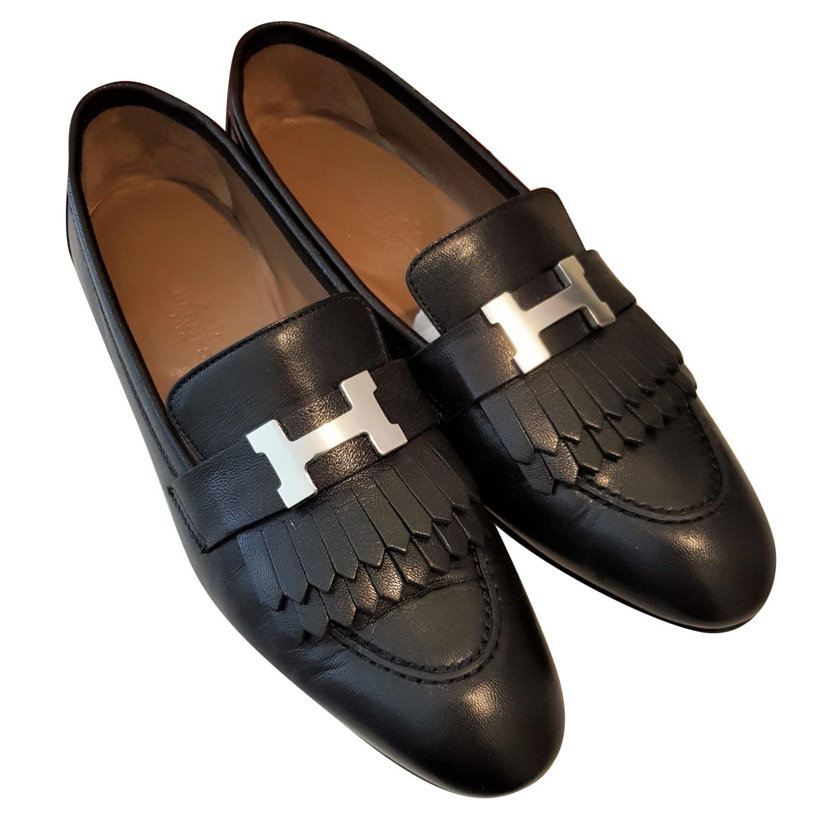 Hermès Black Rivoli Leather shoes Flats