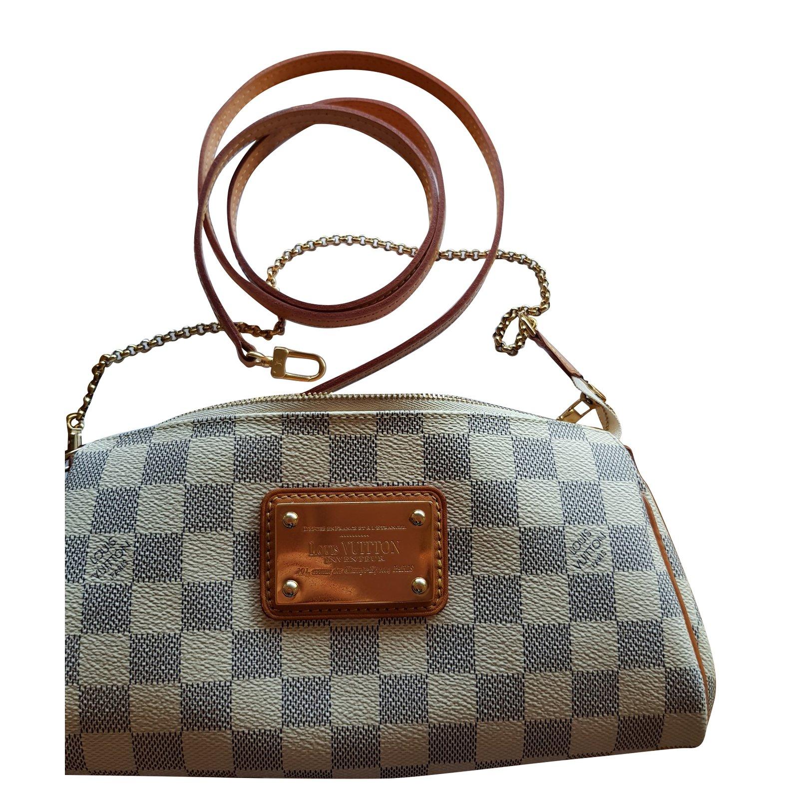 e6e3ac0e405f ... Louis Vuitton Eva Handbags Leather Cloth Beige ref 71537 Joli Closet