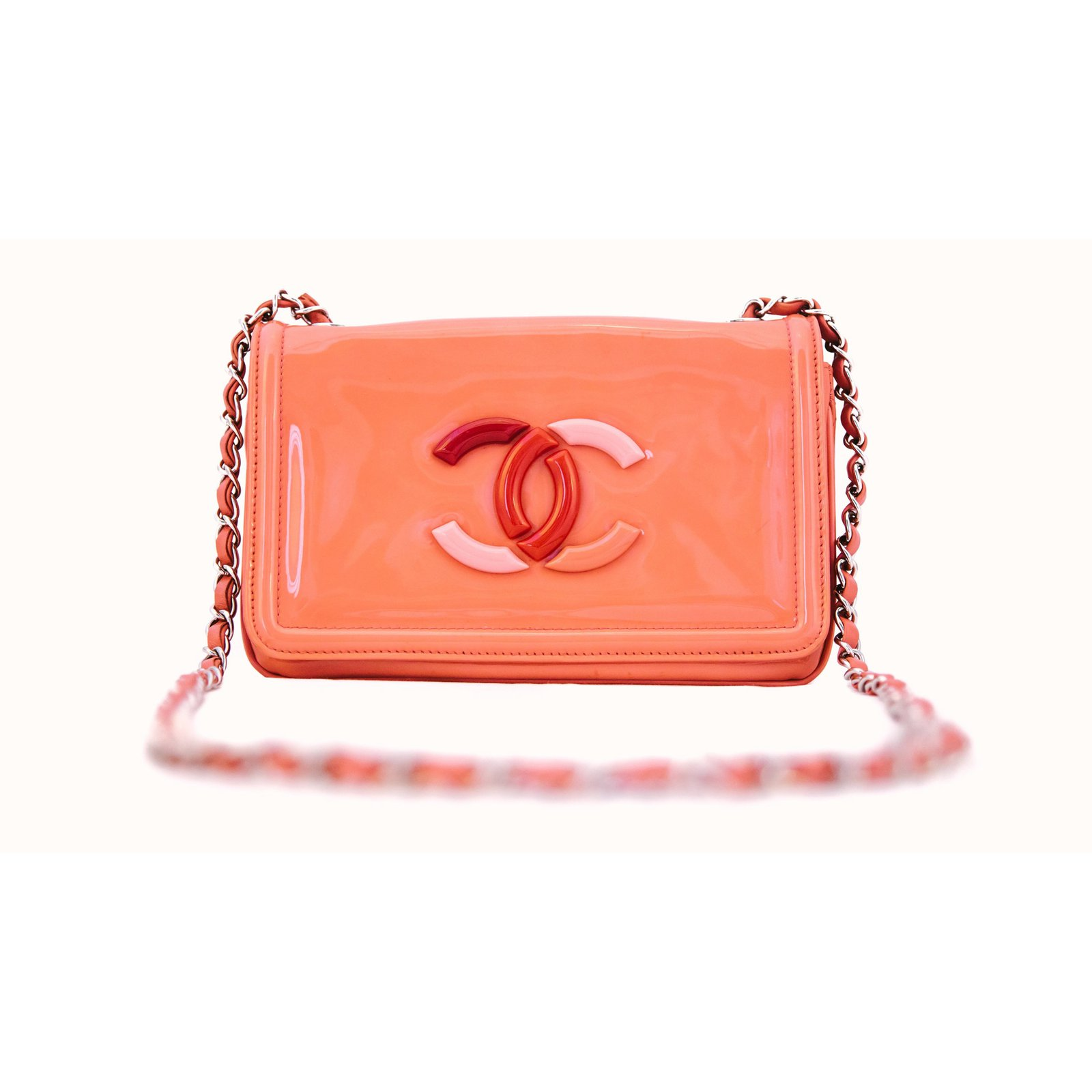 de5795cd2ffc Chanel vinyl lipstick Handbags Patent leather Orange ref.71570 ...