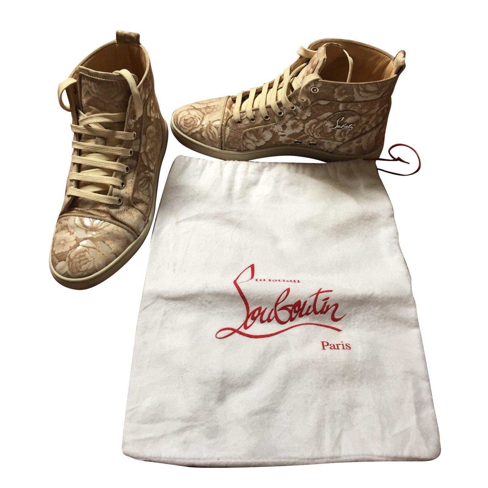 52a9b02e0973 ... cheap christian louboutin sneakers sneakers cloth whitebeige ref.72135  0995a df7e4