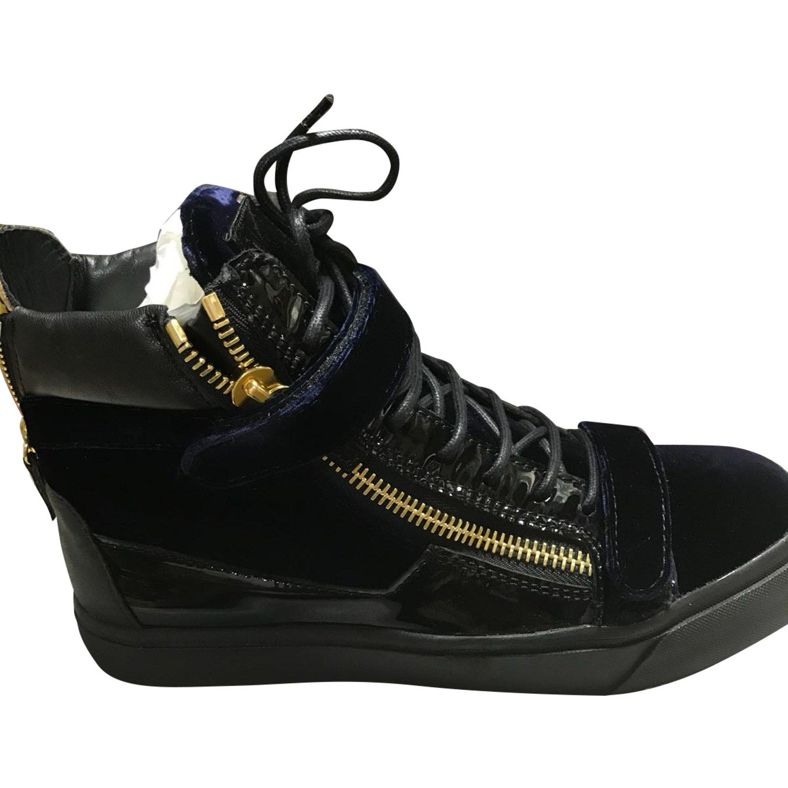 b496afb10aa0 Giuseppe Zanotti sneakers Sneakers Velvet Navy blue ref.72163 - Joli ...
