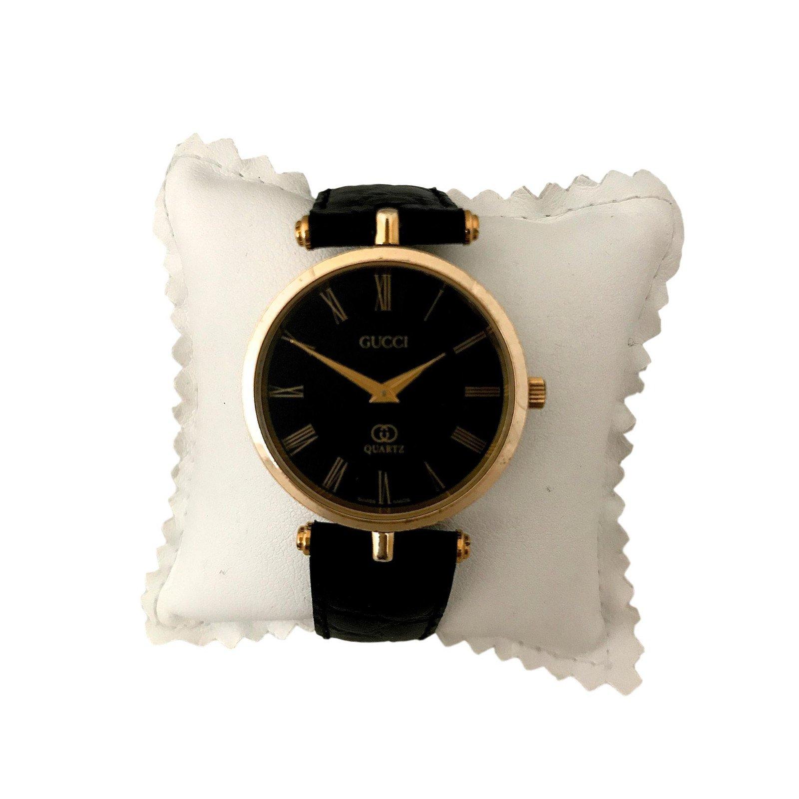 dcd3f5df384 Gucci Watch Fine Watches Gold Plated Black Ref 72286 Joli Closet