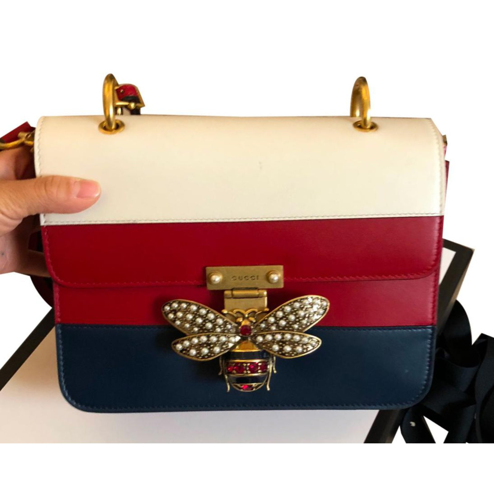 290e721229a Cabas gucci sac bandoulière cuir blanc rouge bleu ref joli jpg 1600x1600 Sac  gucci