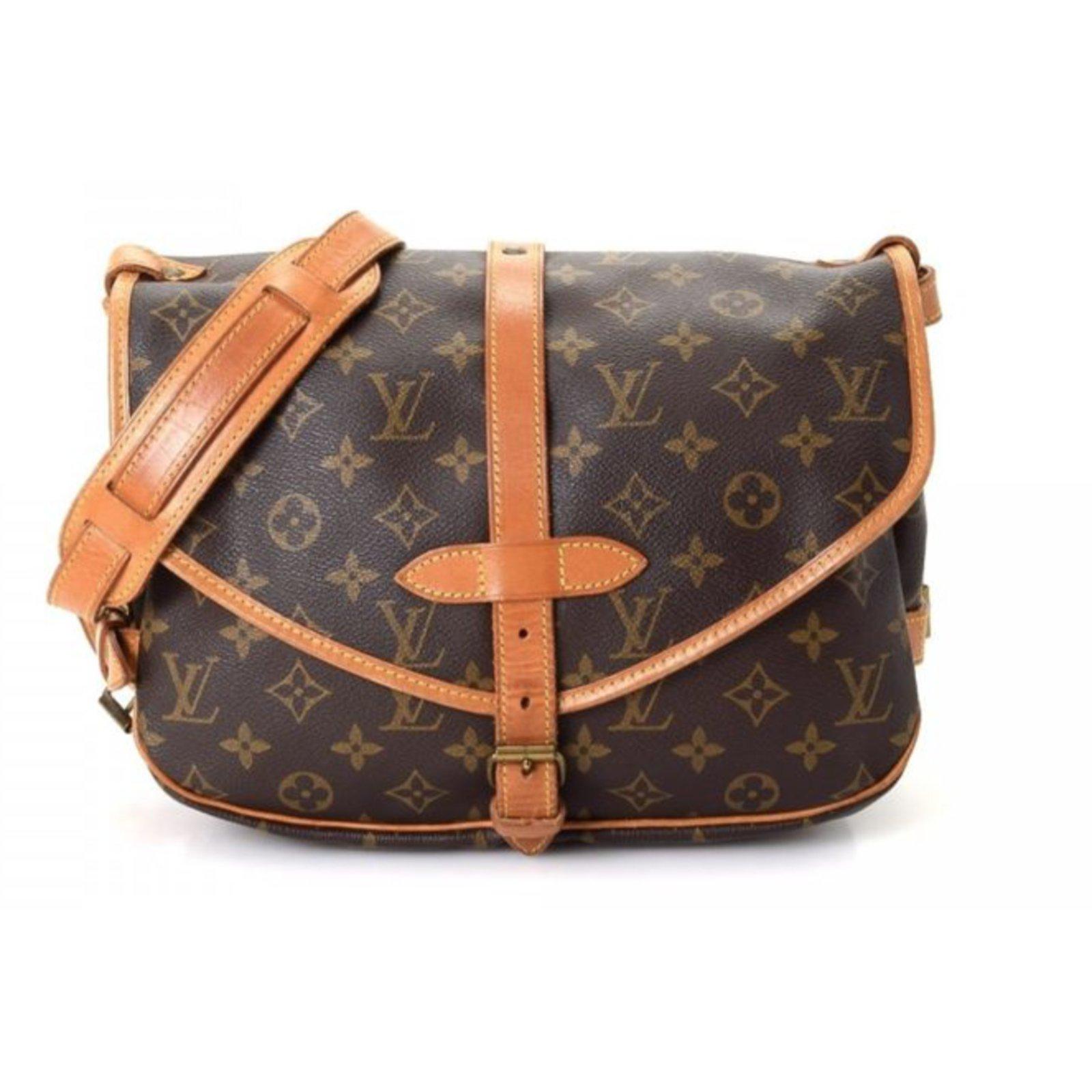 Sacs Louis Vuitton Saumur 30 Sac bandoulière - Vintage Cuir,Toile Marron  ref.72499 9b447c1eb3b