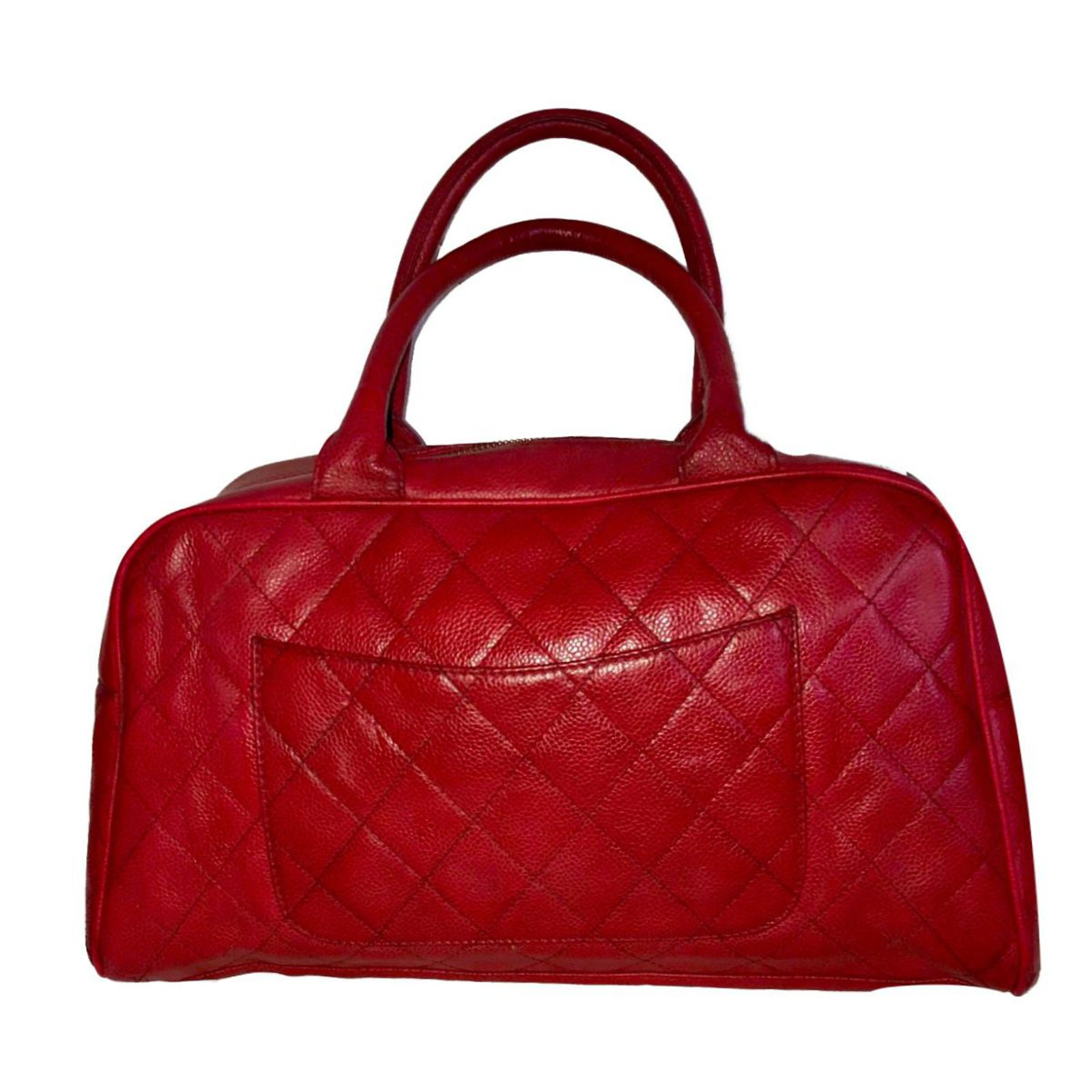 Chanel Bowling Bag Handbags Leather Dark Red Ref 72535