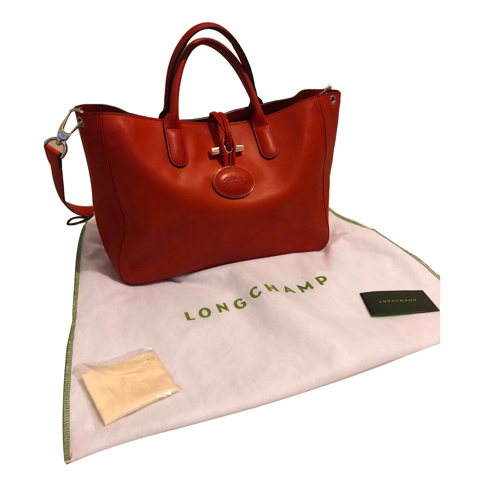 Sacs à main Longchamp Roseau heritage Cuir Corail ref.72553