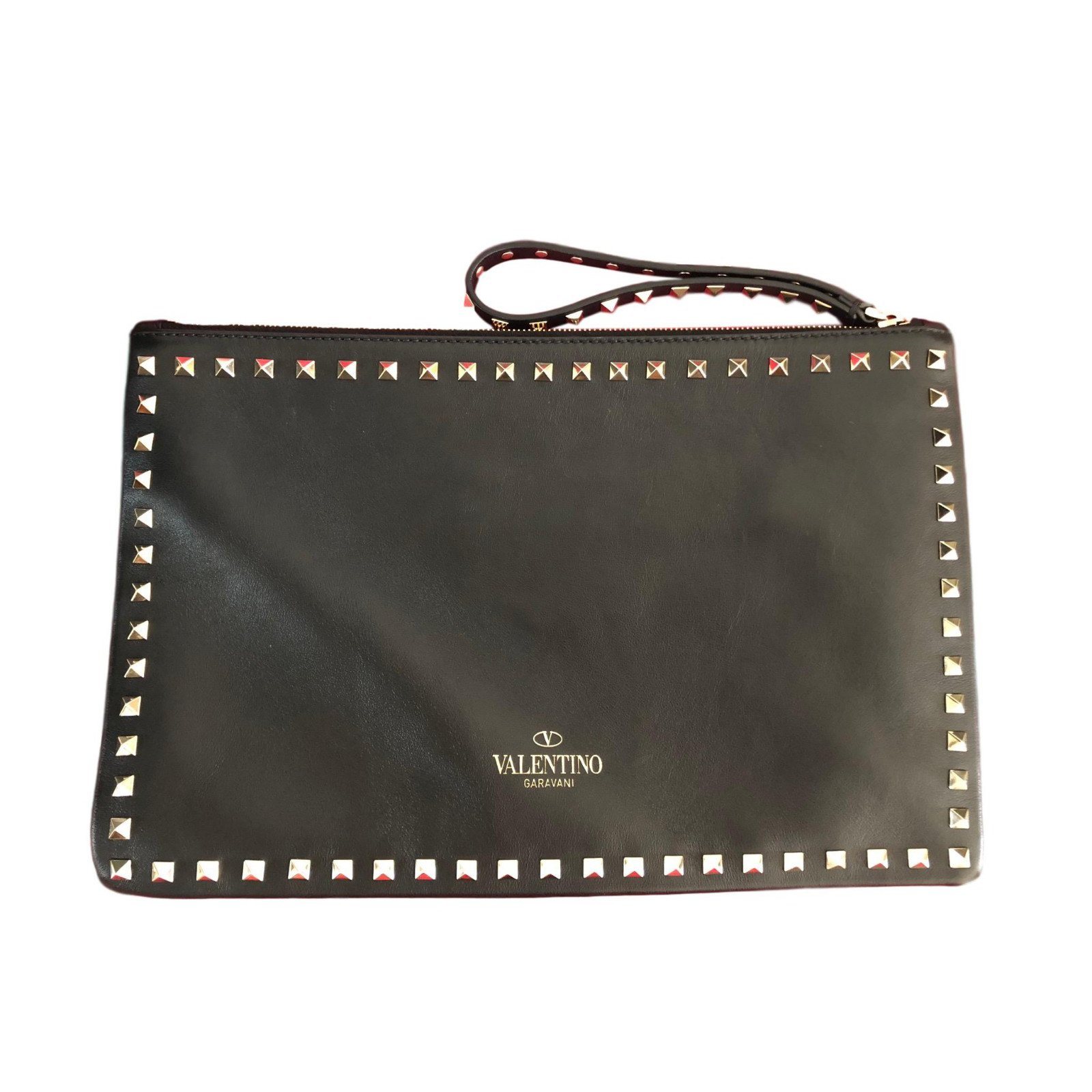 Valentino Rockstud Clutch Bag Bags Leather Black Ref 72727