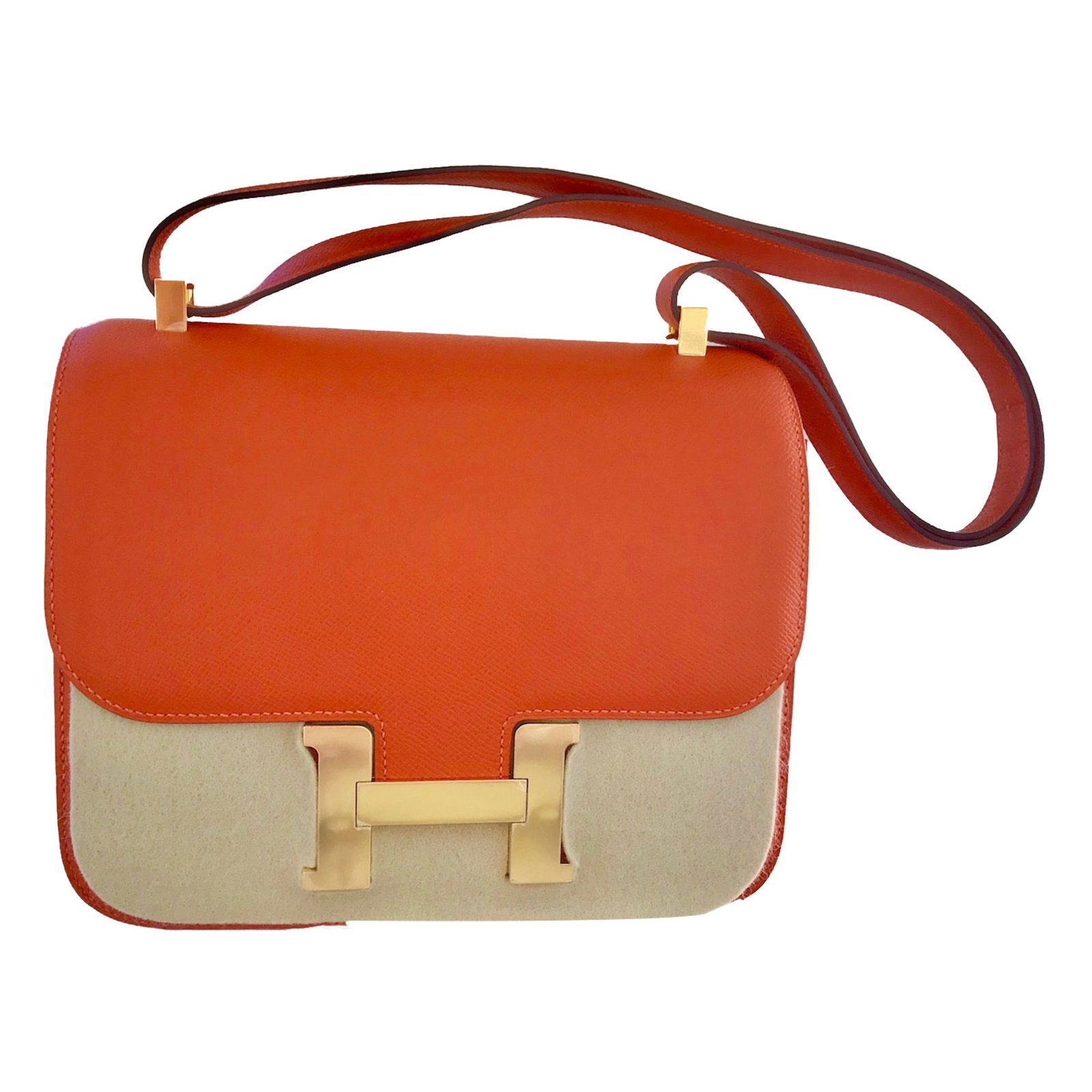 a6773f1cbf88 ... coupon for hermès constance handbags leather orange ref.72953 dbcc7  dbde8 ...