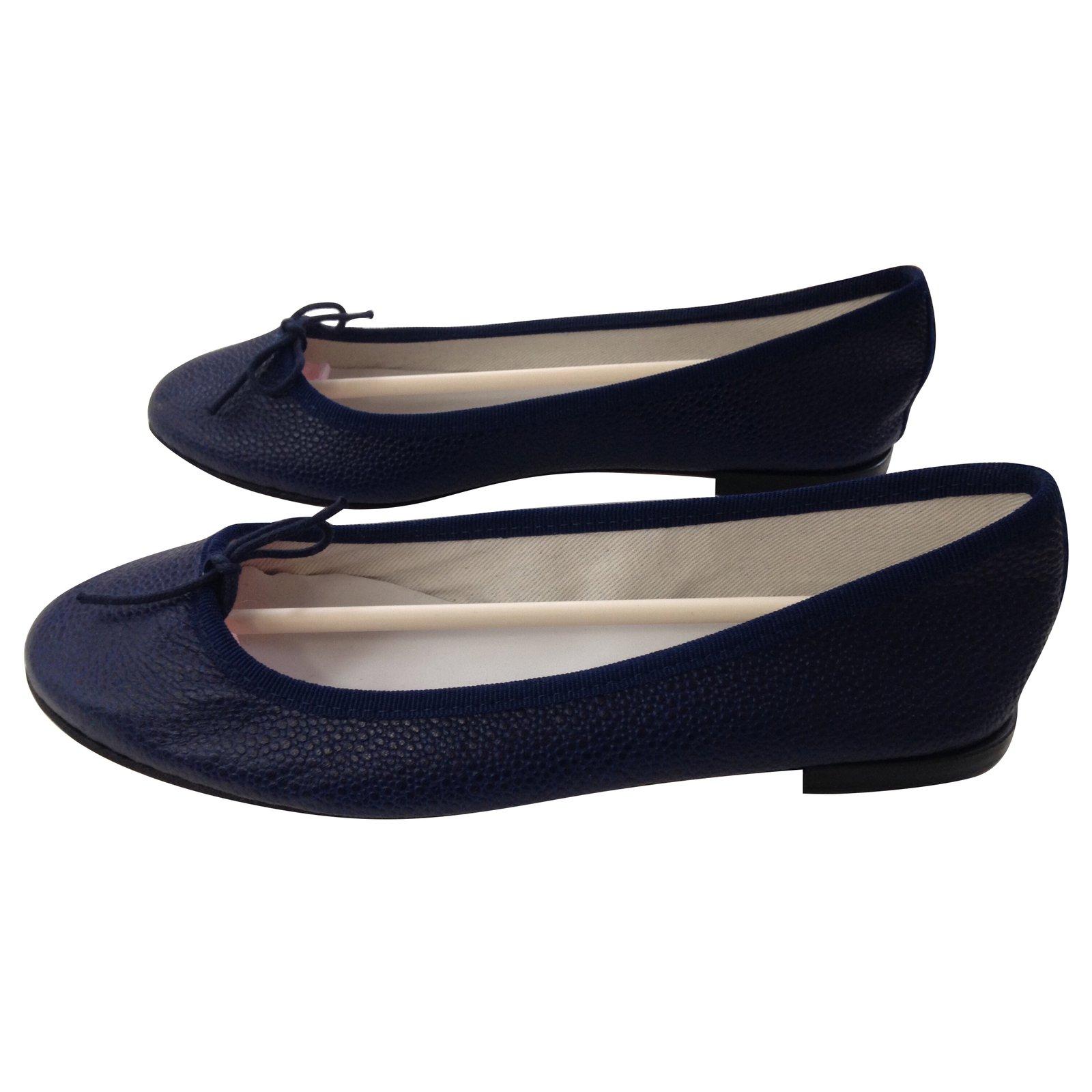 cd9722f94f83 Repetto Ballet flats Ballet flats Leather Navy blue ref.73118 - Joli ...