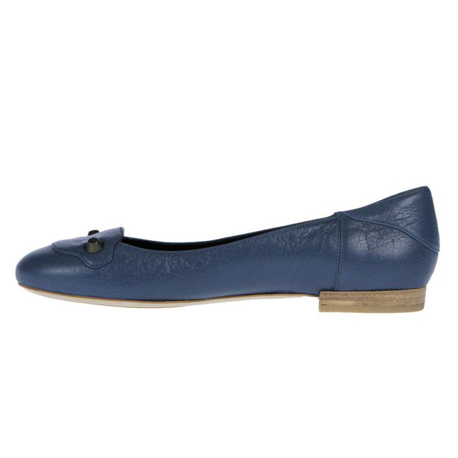 4e8f3f5c5656 Balenciaga ballerina flat shoes Flats Leather Blue ref.73524 - Joli ...