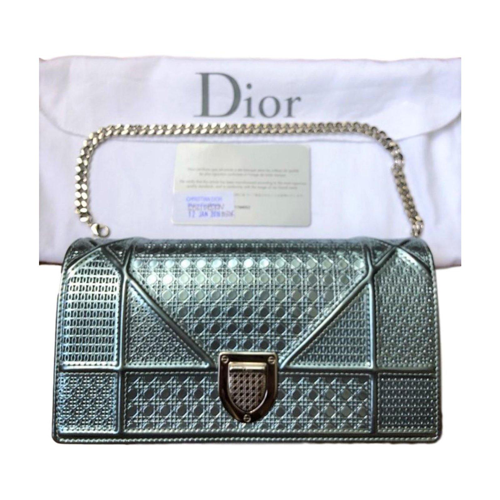 f0733dd3fa4d5 Dior Diorama Metallic Leather clutch wallet on chain bag Clutch bags  Leather Green ref.73610